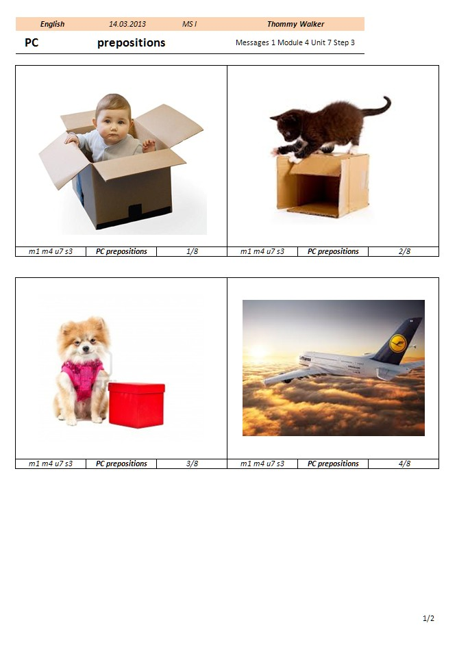 Preview image for LOM object Picture cards: Prepositions