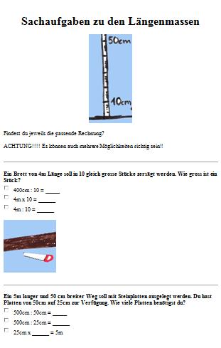 Preview image for LOM object Sachrechnen mit Längenmassen 3