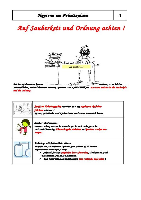 Hygiene Am Arbeitsplatz Küche | Unterricht Zebis