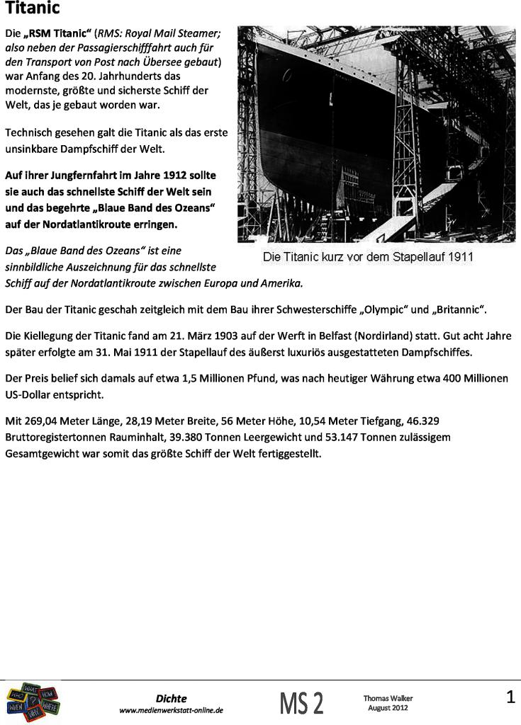 Fantastic Titanic Zeitleiste Arbeitsblatt Pictures - Mathe ...