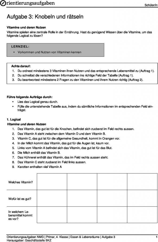 Berühmt Thema Einer Tabelle 4Klasse Zeitgenössisch - Arbeitsblätter ...