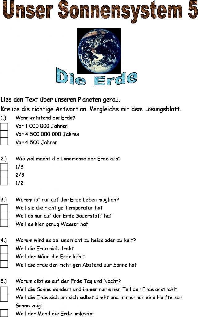 Groß Sonnensystem Arbeitsblatt Für Die 2Klasse Galerie - Super ...