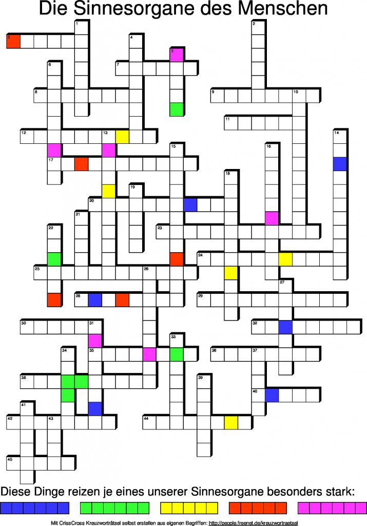 Menschen Kreuzworträtsel