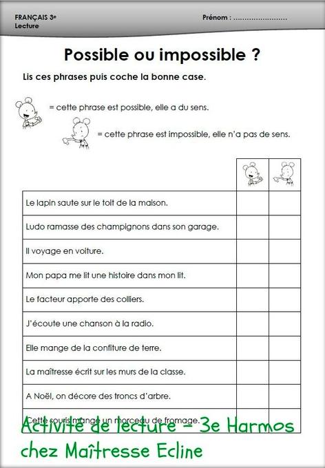 Preview image for LOM object Französische Unterrichtsmaterialien: Chez maîtresse Ecline