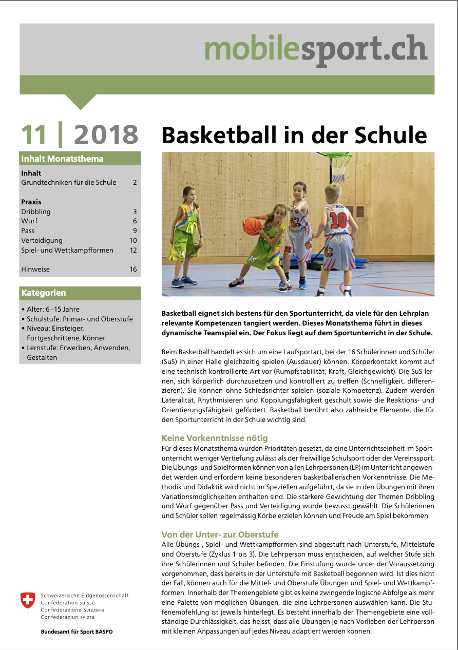 Preview image for LOM object Basketball in der Schule - mobilesport Monatsthema