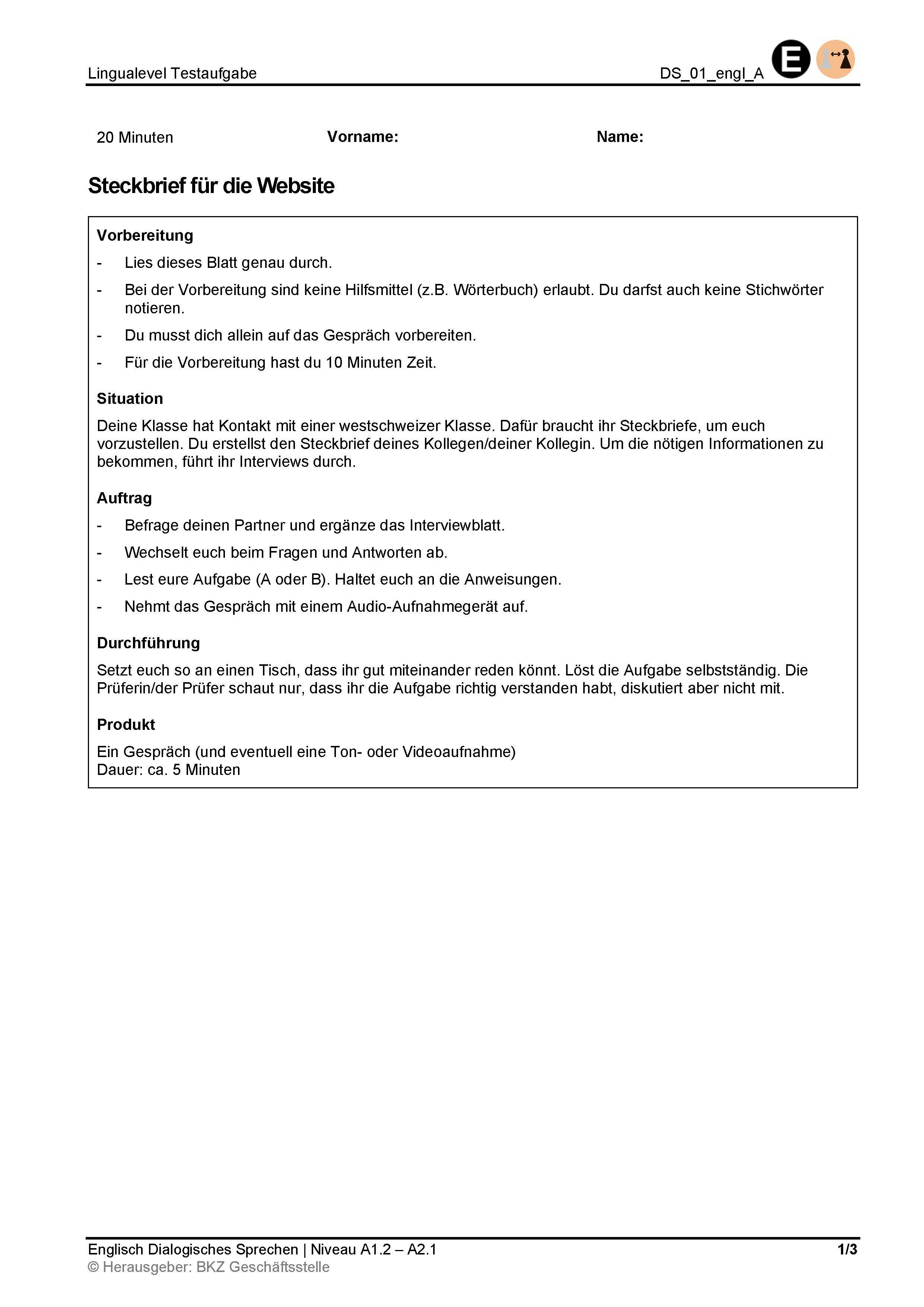 Preview image for LOM object Dialogisches Sprechen: Steckbrief für die Website