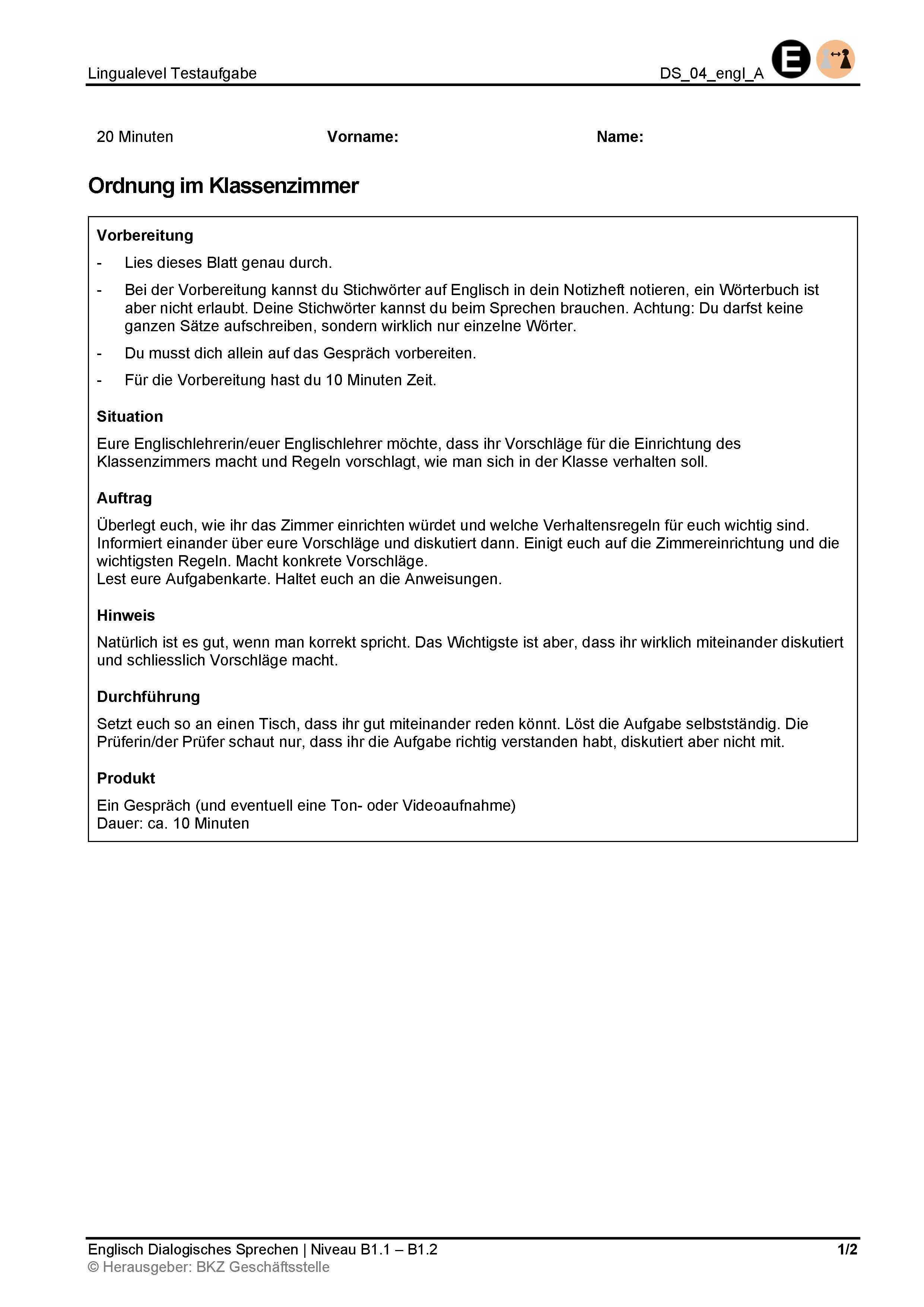 Preview image for LOM object Dialogisches Sprechen: Ordnung im Klassenzimmer