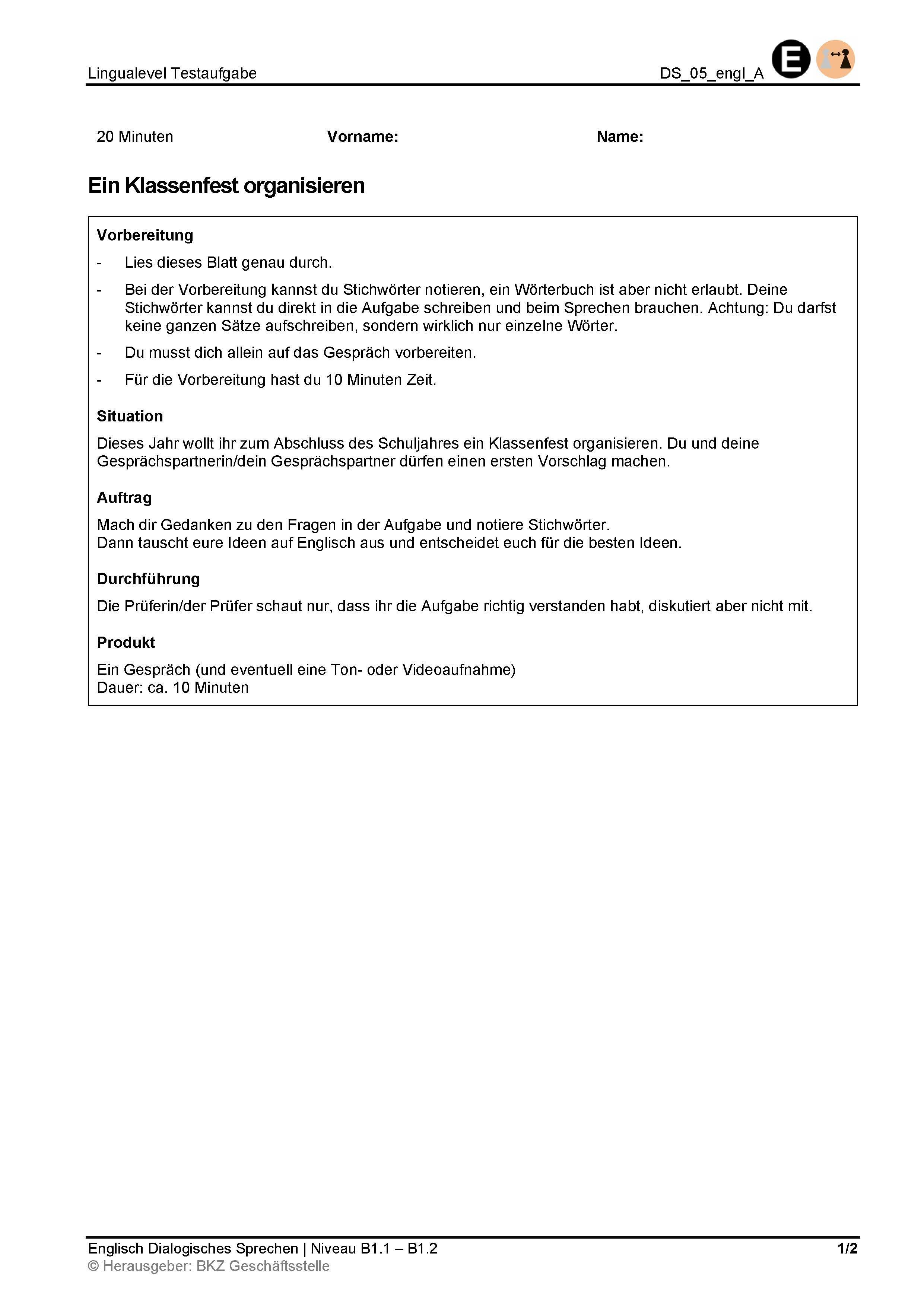 Preview image for LOM object Dialogisches Sprechen: Ein Klassenfest organisieren