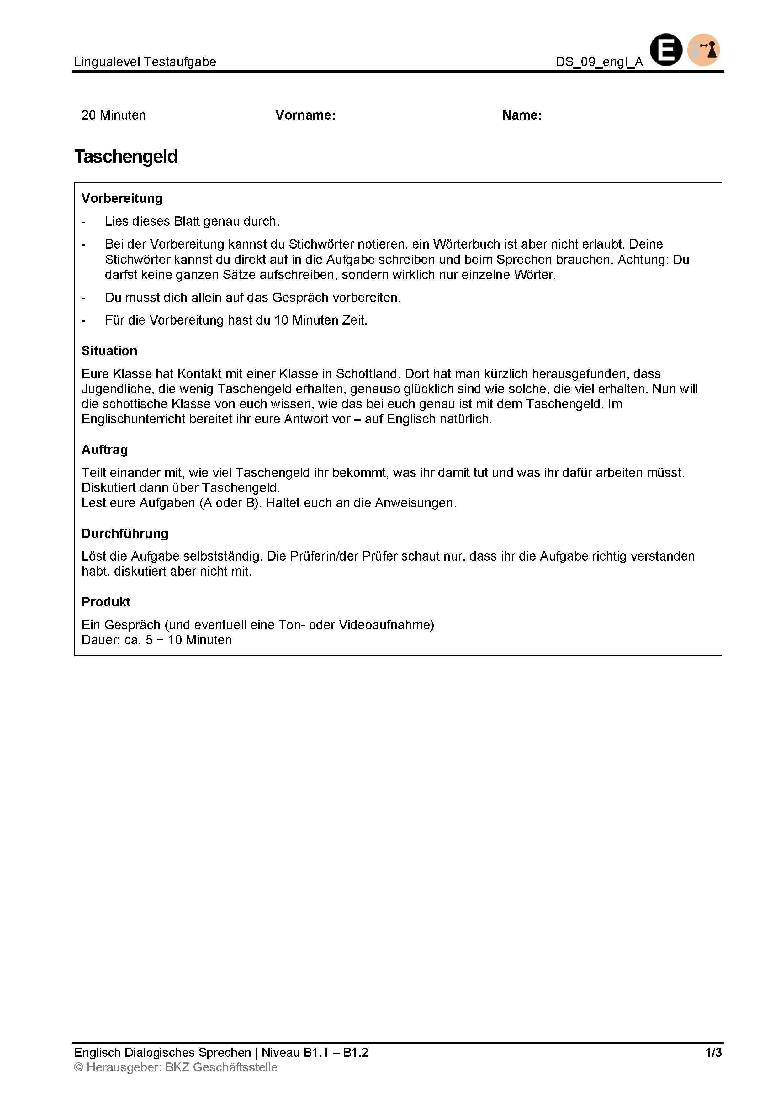 Preview image for LOM object Dialogisches Sprechen: Taschengeld
