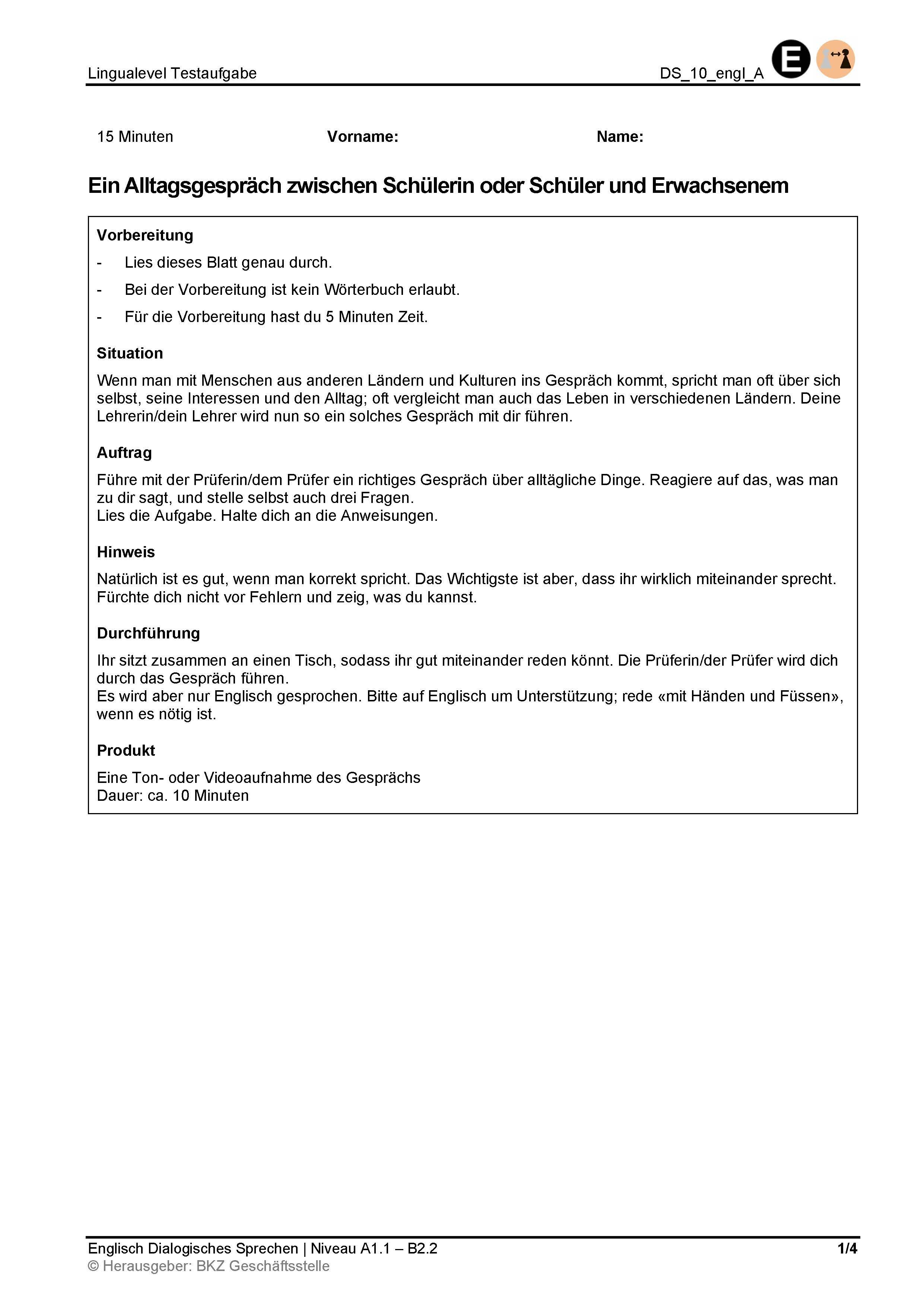Preview image for LOM object Dialogisches Sprechen: Ein Alltagsgespräch zwischen Schülerin oder Schüler und Erwachsenem