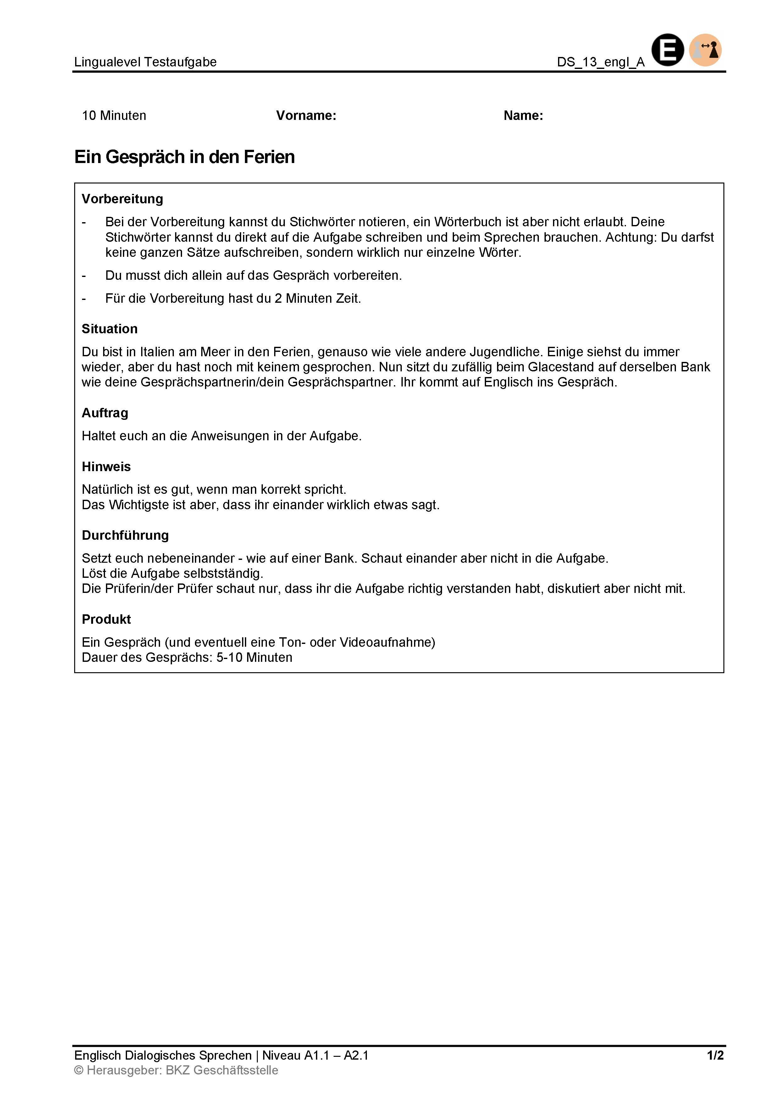 Preview image for LOM object Dialogisches Sprechen: Ein Gespräch in den Ferien
