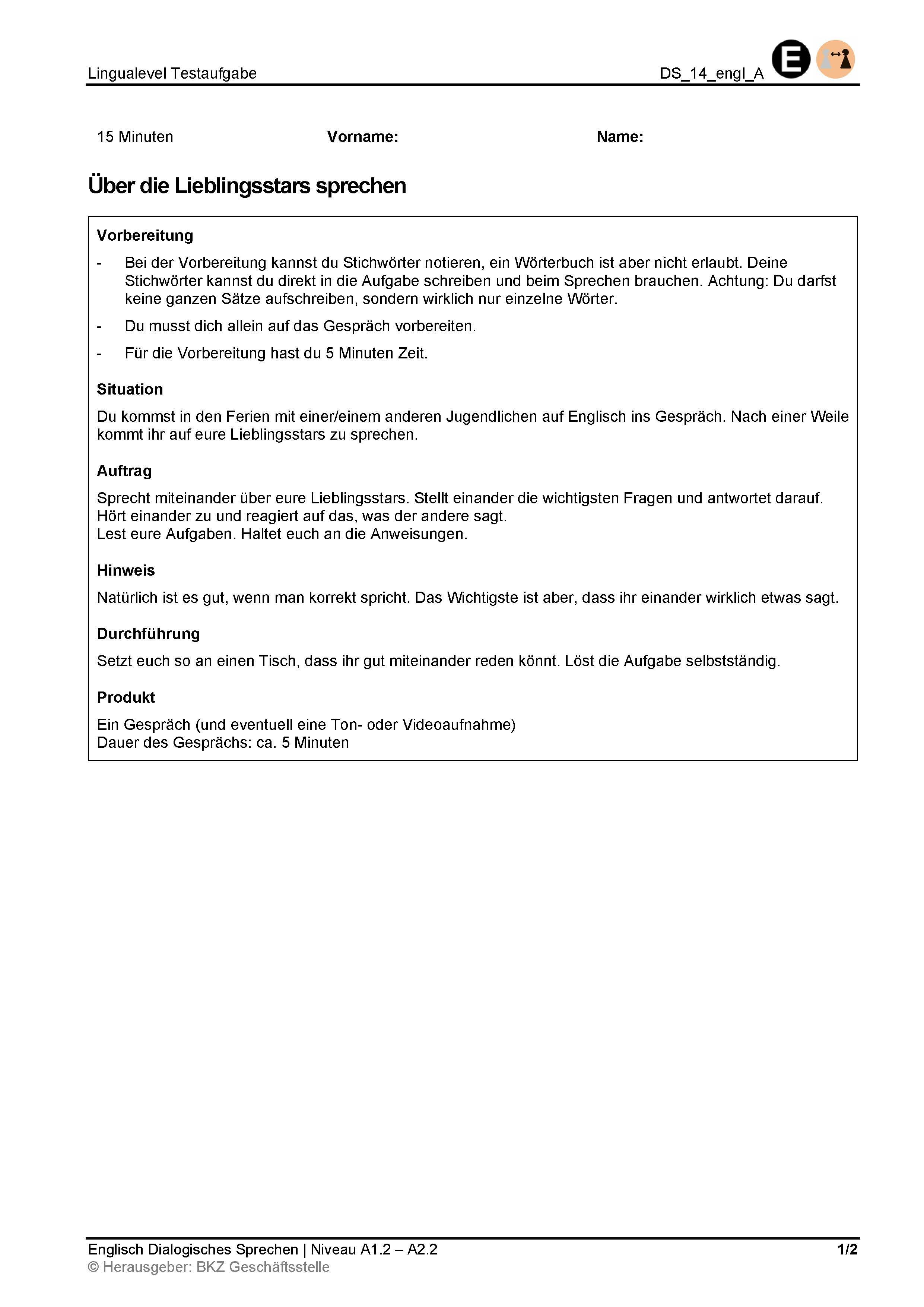 Preview image for LOM object Dialogisches Sprechen: Über die Lieblingsstars sprechen