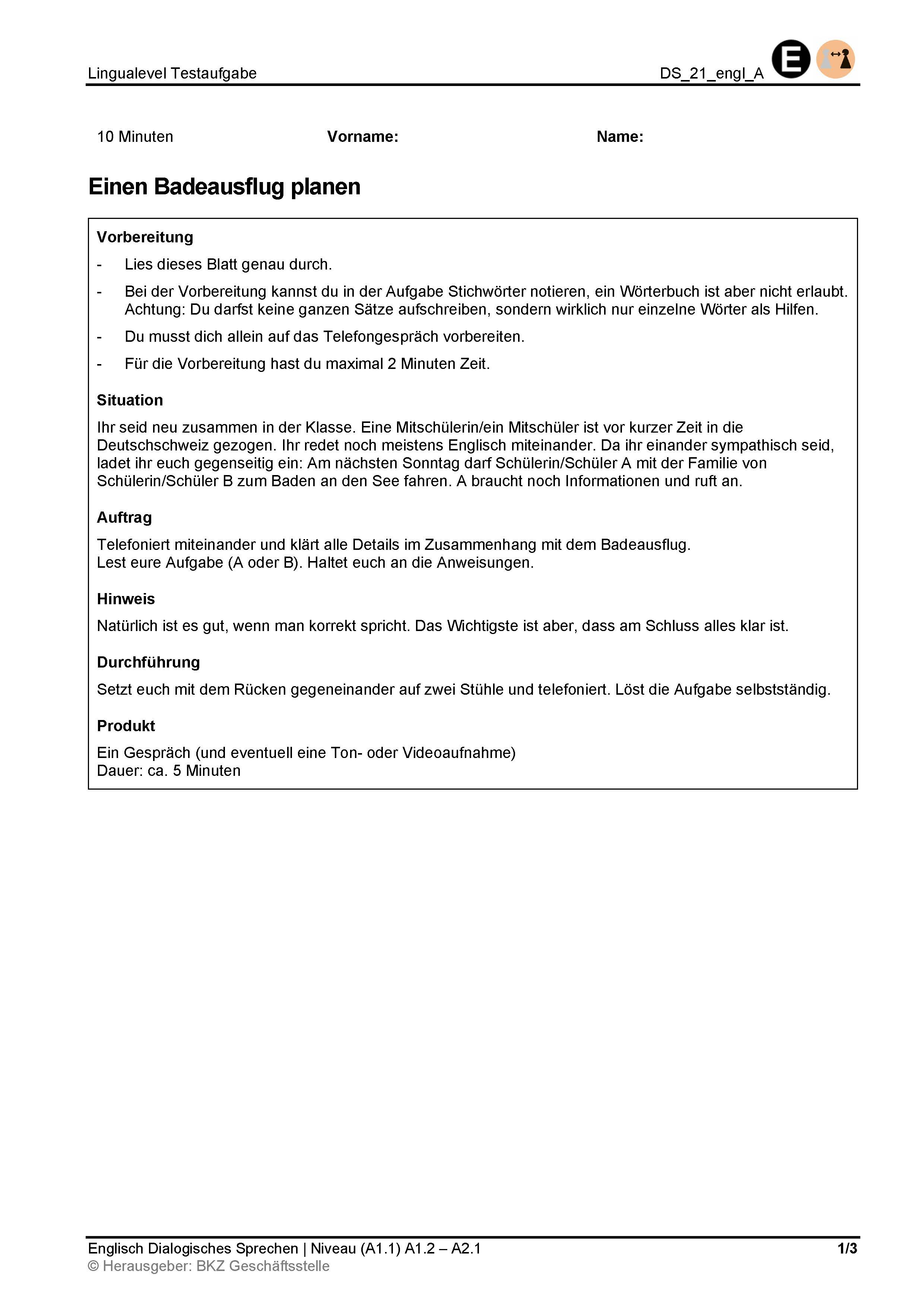 Preview image for LOM object Dialogisches Sprechen: Einen Badeausflug planen