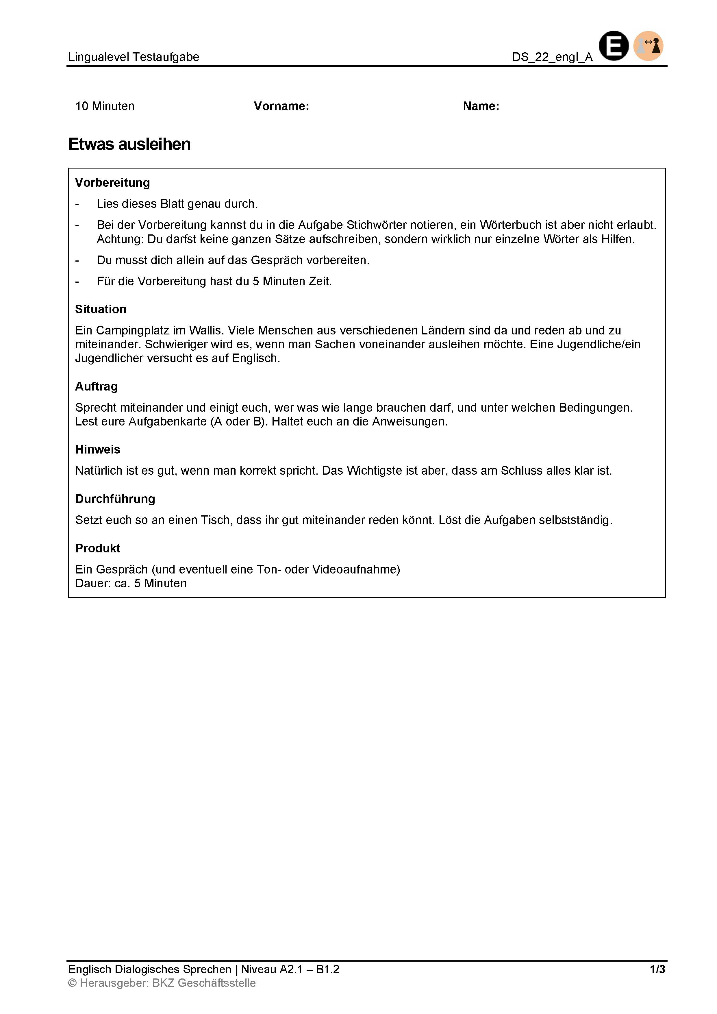Preview image for LOM object Dialogisches Sprechen: Etwas ausleihen