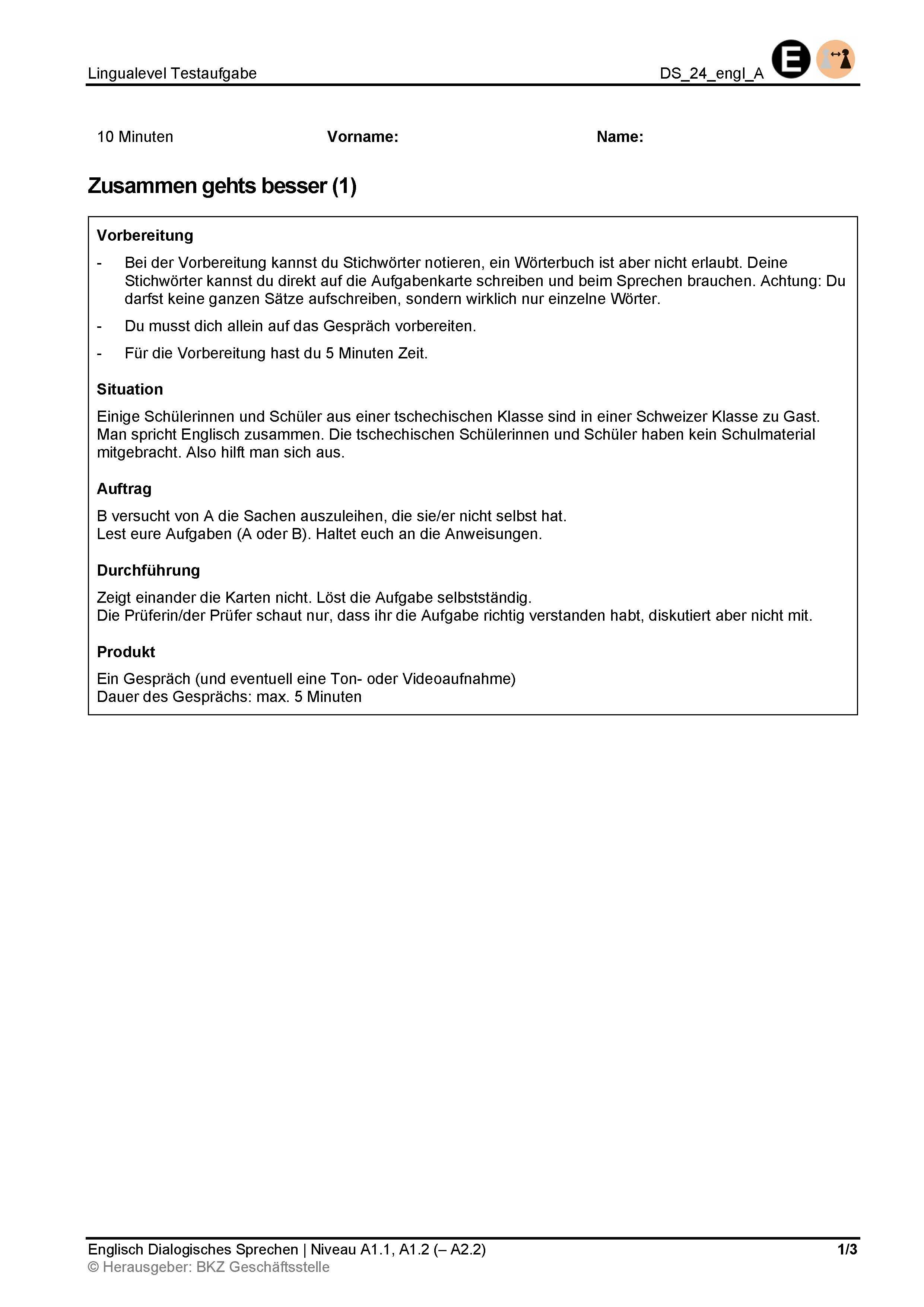 Preview image for LOM object Dialogisches Sprechen: Zusammen gehts besser (1)