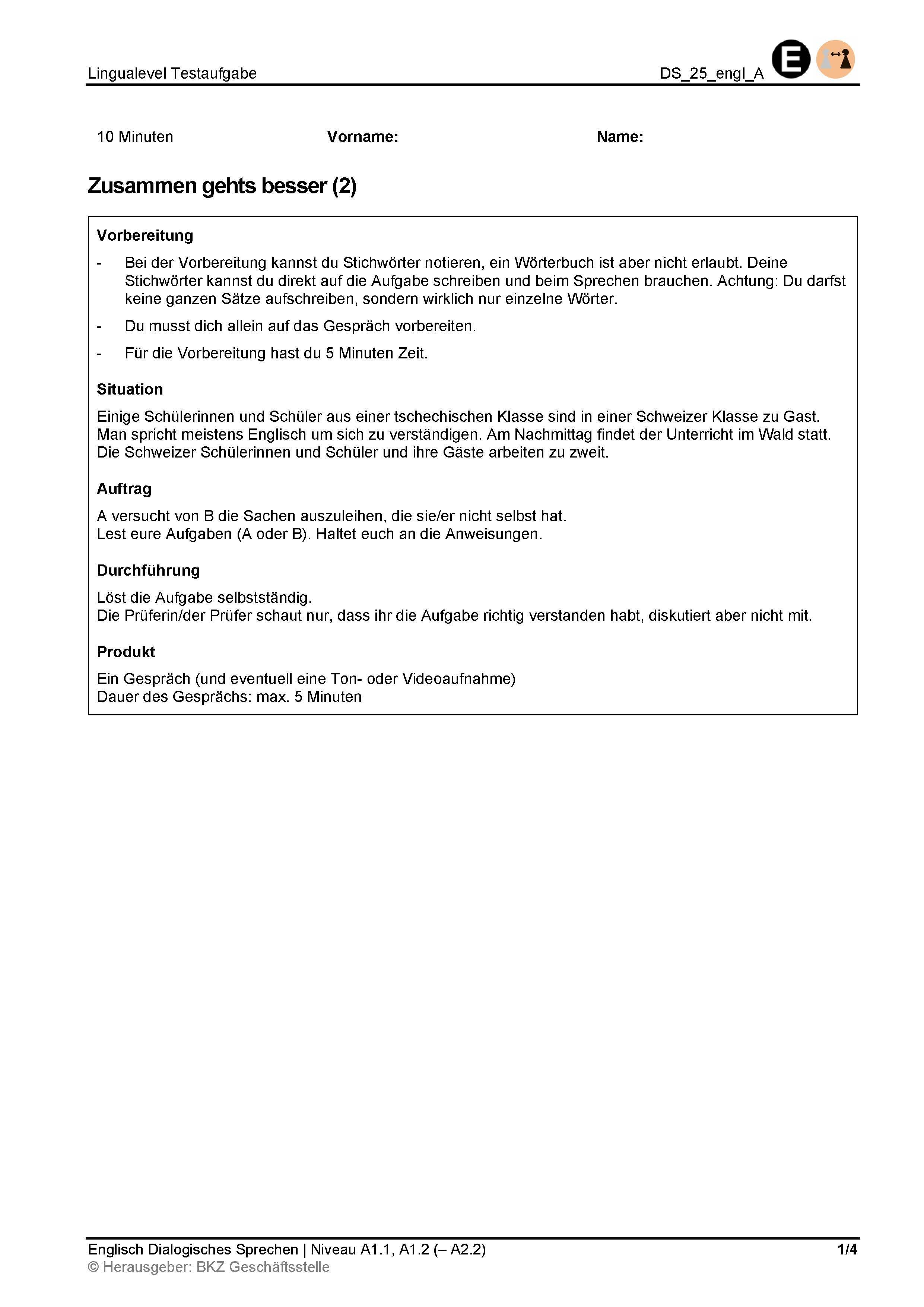 Preview image for LOM object Dialogisches Sprechen: Zusammen gehts besser (2)