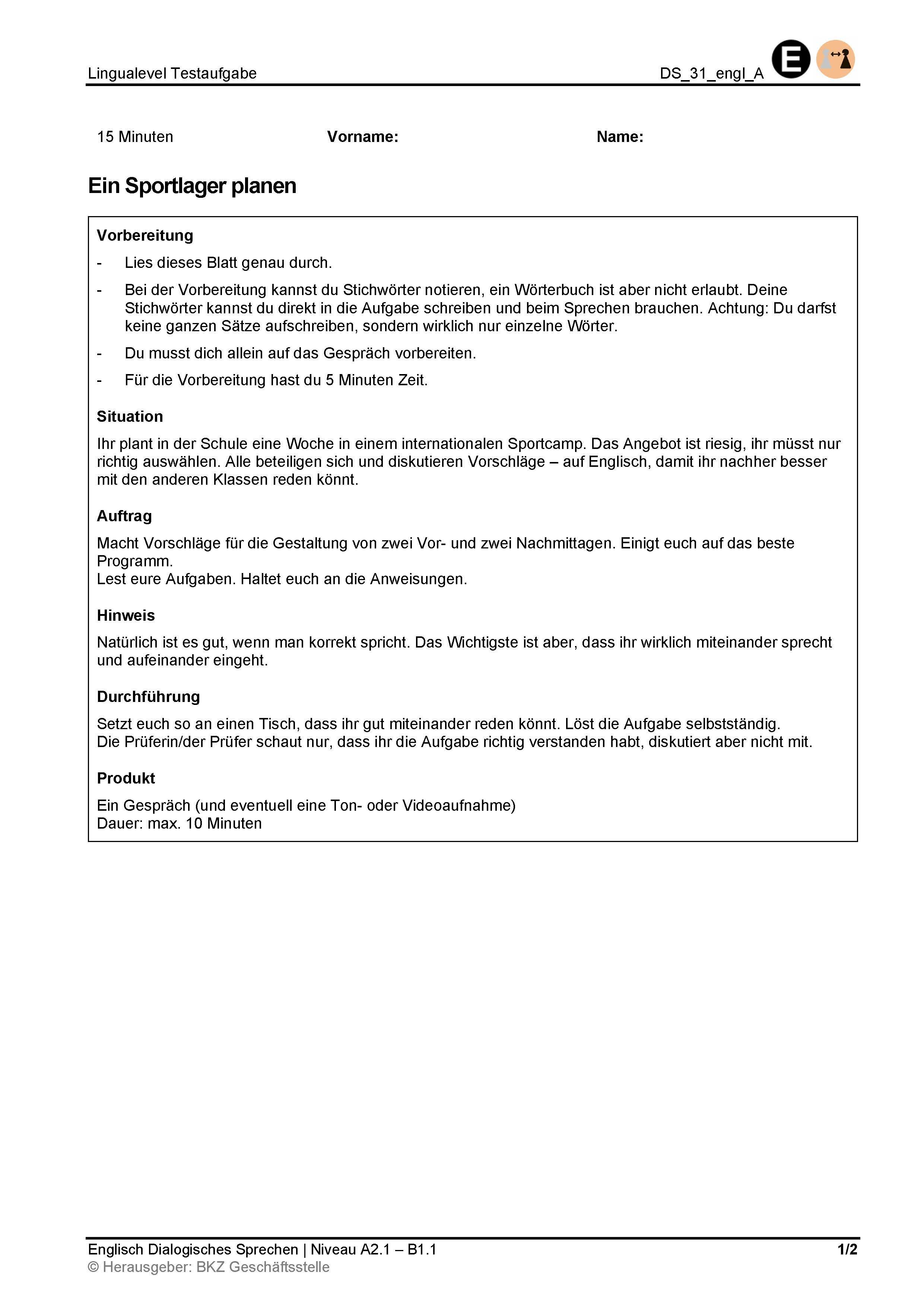 Preview image for LOM object Dialogisches Sprechen: Ein Sportlager planen