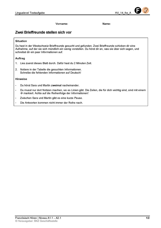 Preview image for LOM object Zwei Brieffreunde stellen sich vor