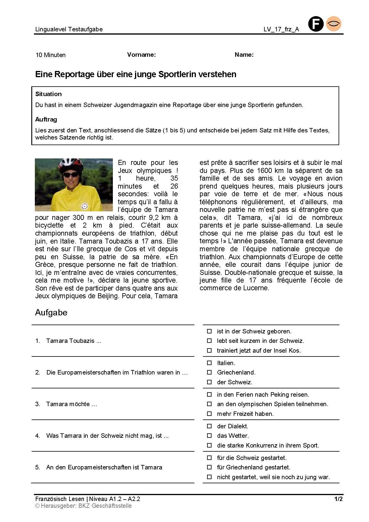 Preview image for LOM object Eine Reportage über eine junge Sportlerin verstehen