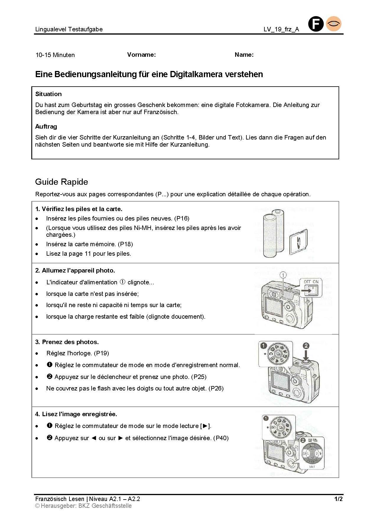 Preview image for LOM object Eine Bedienungsanleitung für eine Digitalkamera verstehen