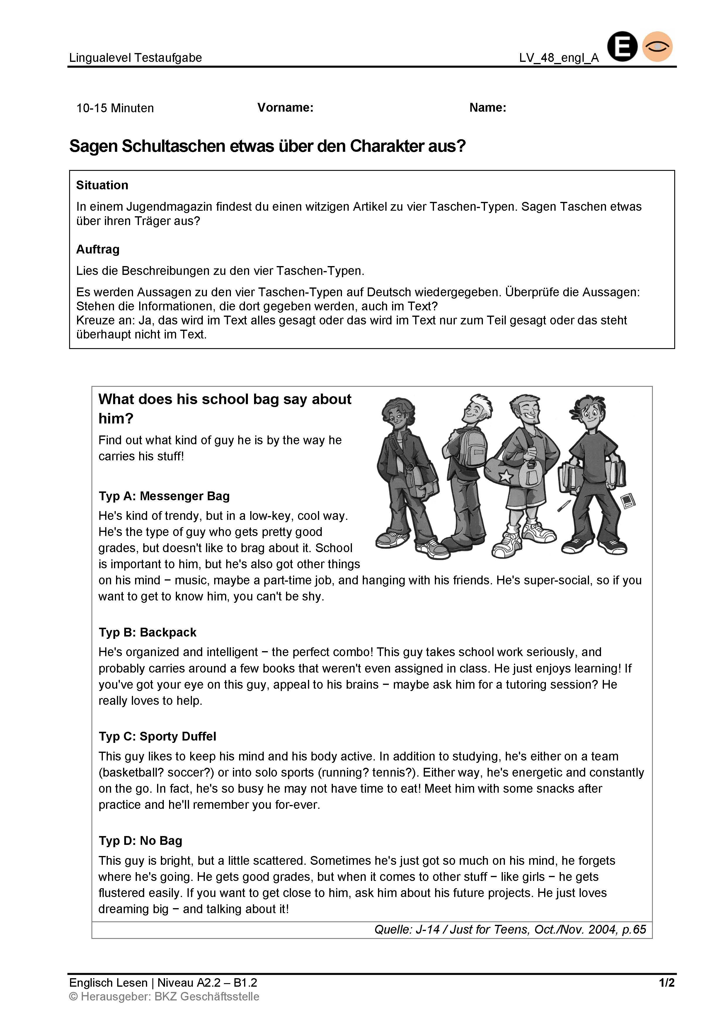 Preview image for LOM object Lesen: Sagen Schultaschen etwas über den Charakter aus?