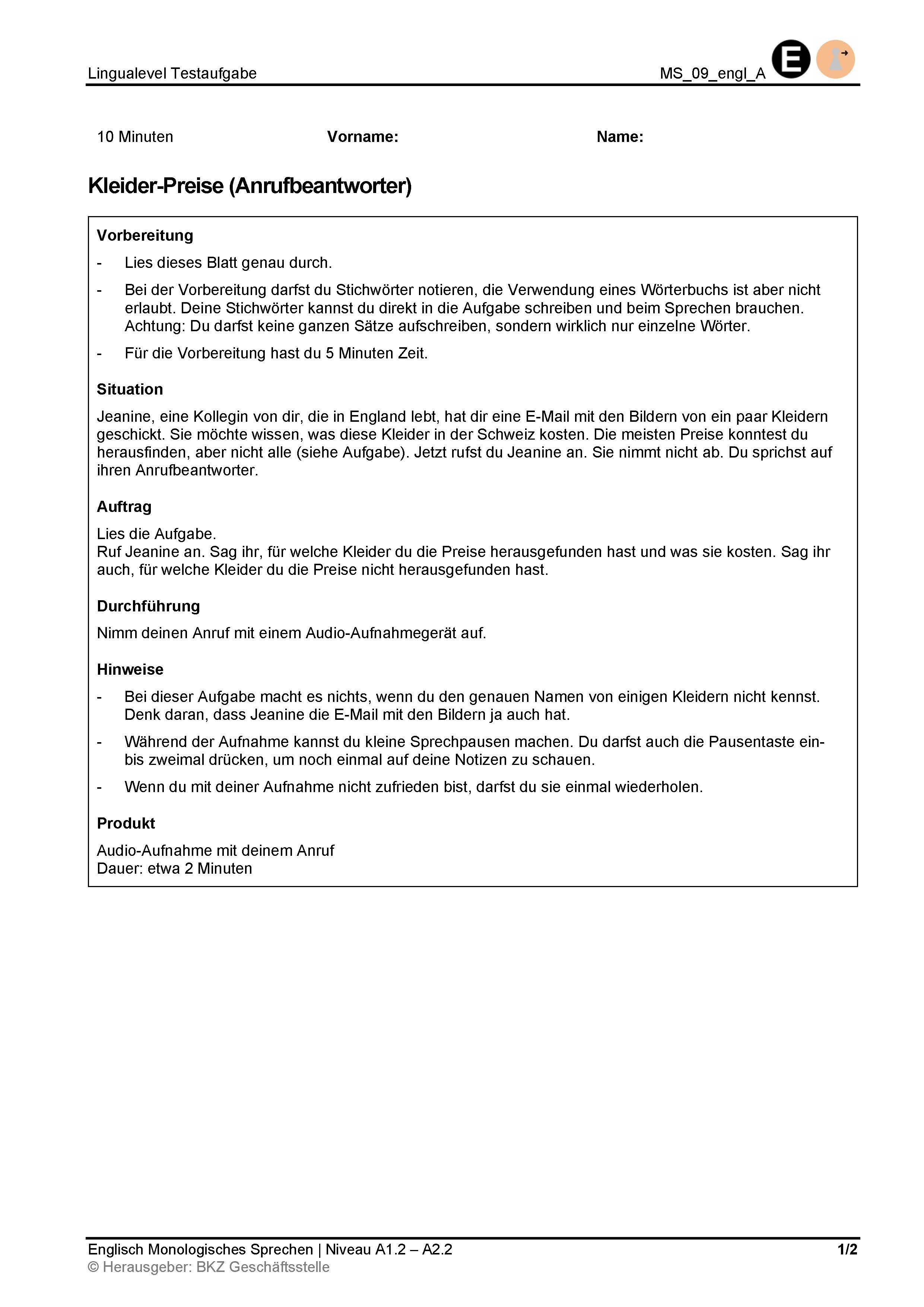 Preview image for LOM object Monologisches Sprechen: Kleider-Preise (Anrufbeantworter)