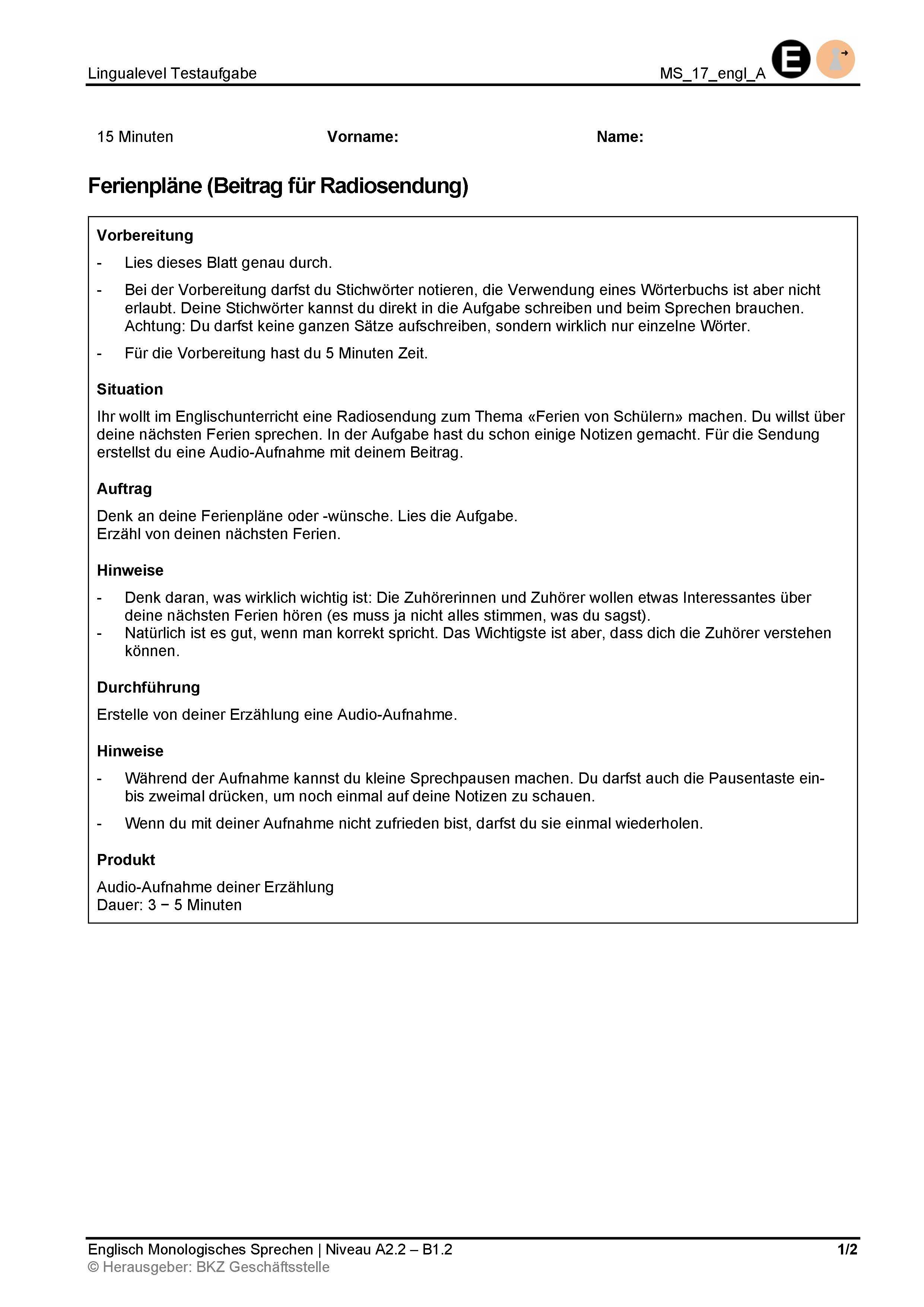 Preview image for LOM object Monologisches Sprechen: Ferienpläne (Beitrag für Radiosendung)