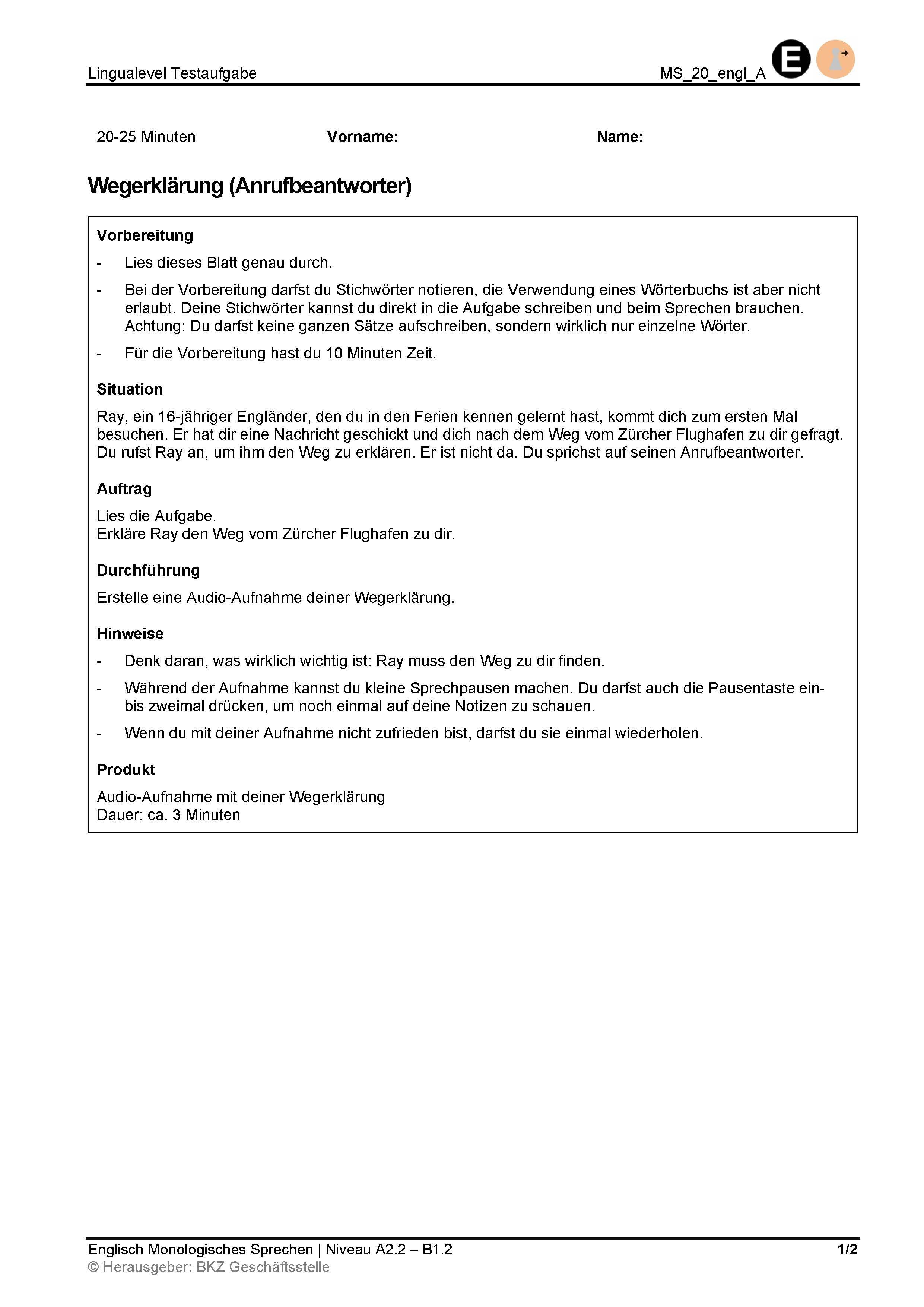 Preview image for LOM object Monologisches Sprechen: Wegerklärung (Anrufbeantworter)