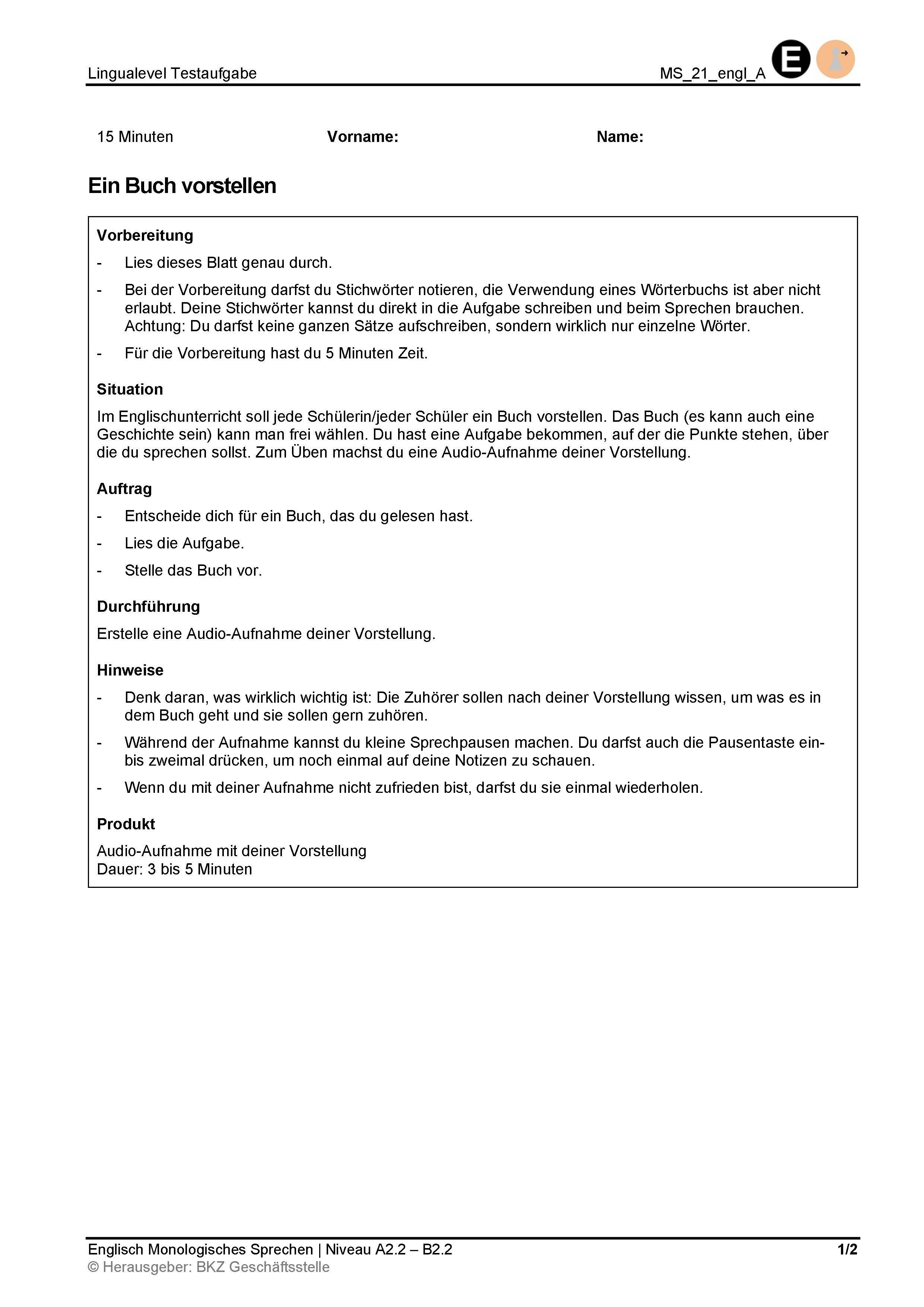 Preview image for LOM object Monologisches Sprechen: Ein Buch vorstellen