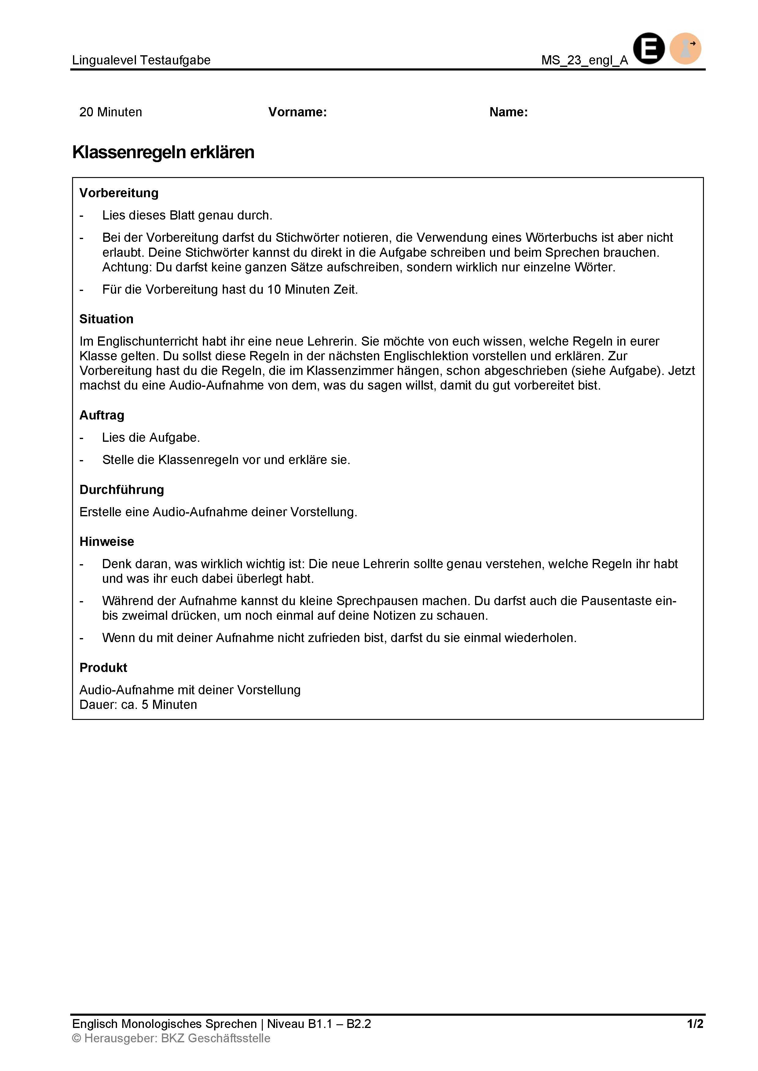 Preview image for LOM object Monologisches Sprechen: Klassenregeln erklären