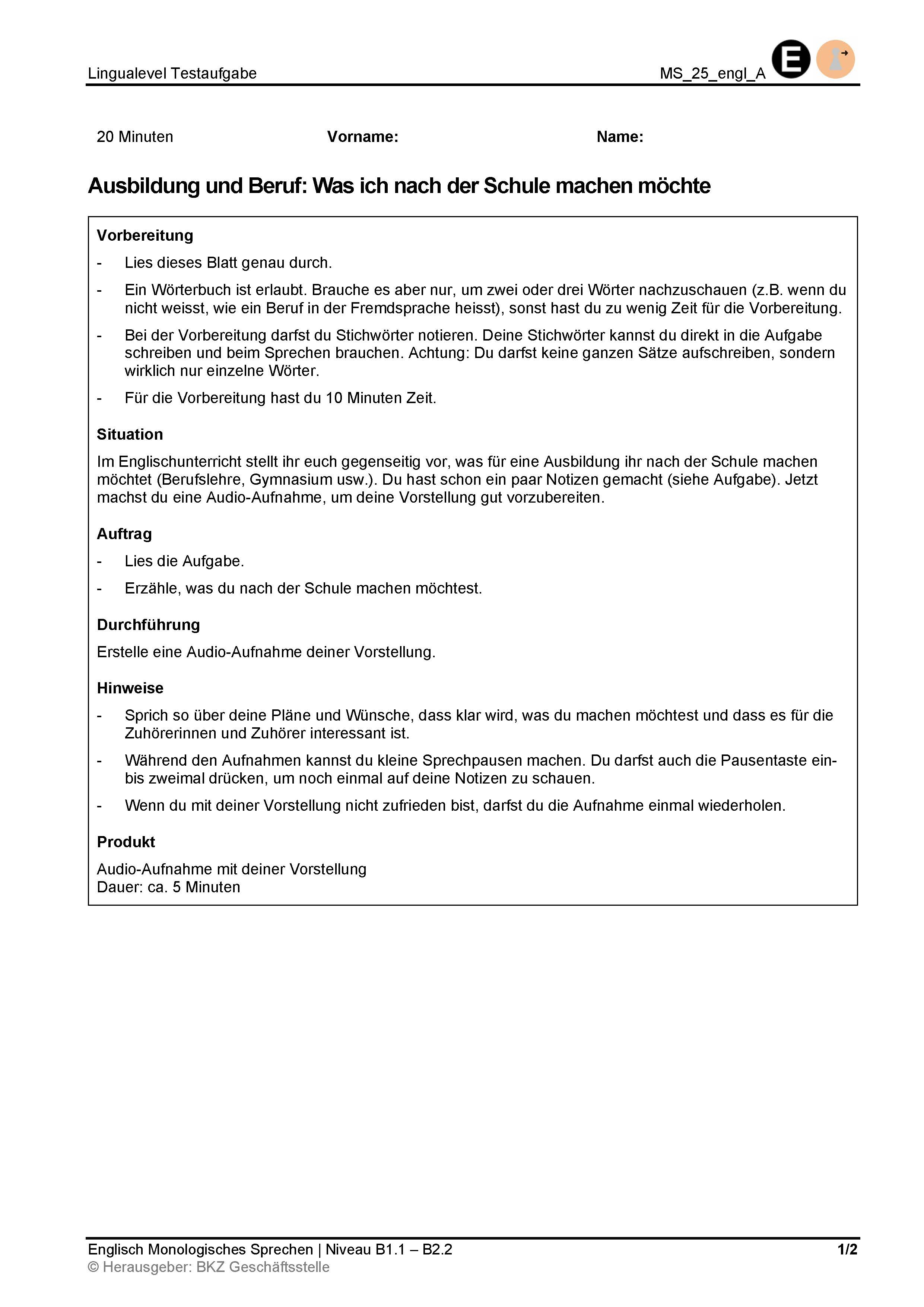 Preview image for LOM object Monologisches Sprechen: Ausbildung und Beruf: Was ich nach der Schule machen möchte