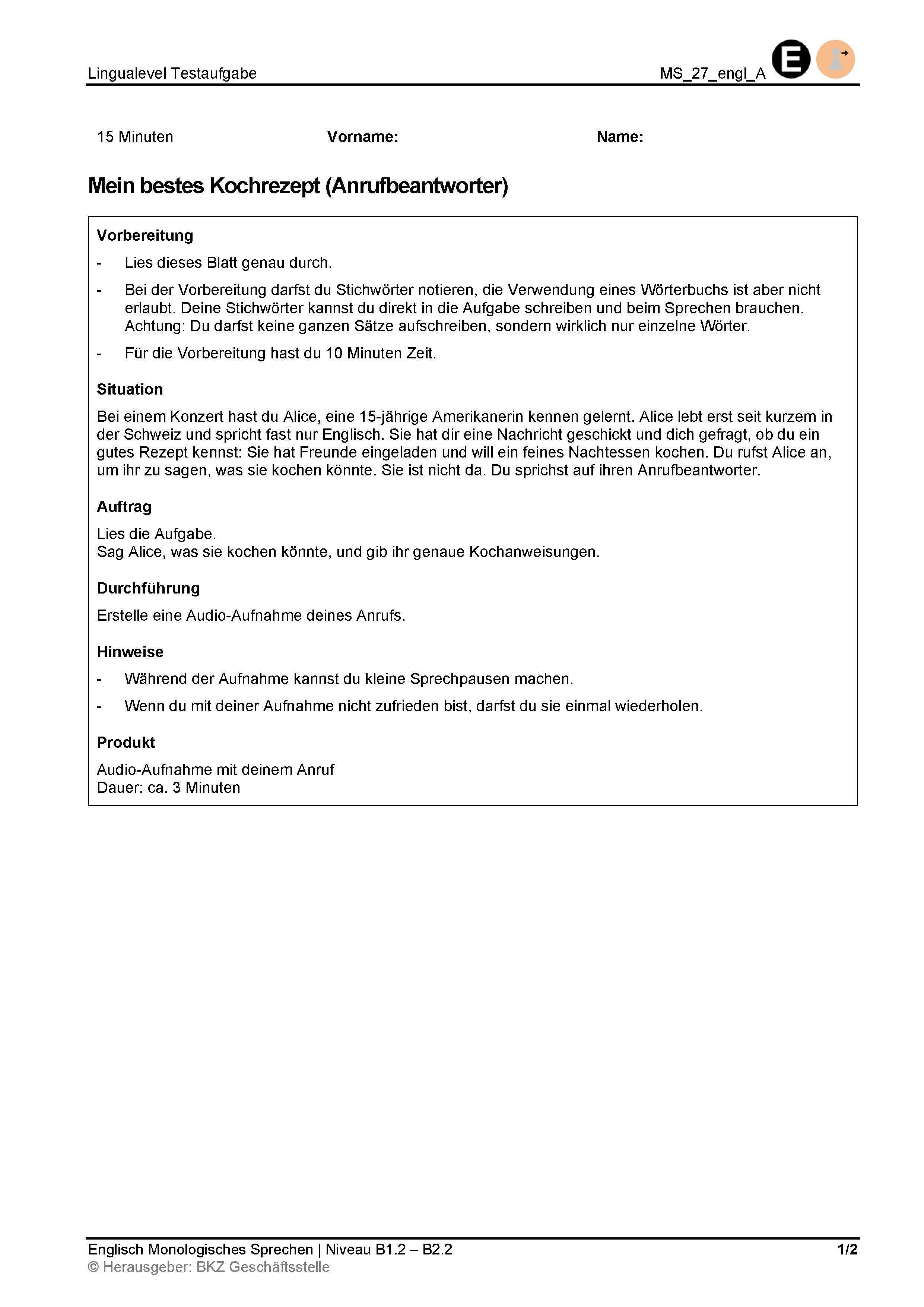 Preview image for LOM object Monologisches Sprechen: Mein bestes Kochrezept (Anrufbeantworter)