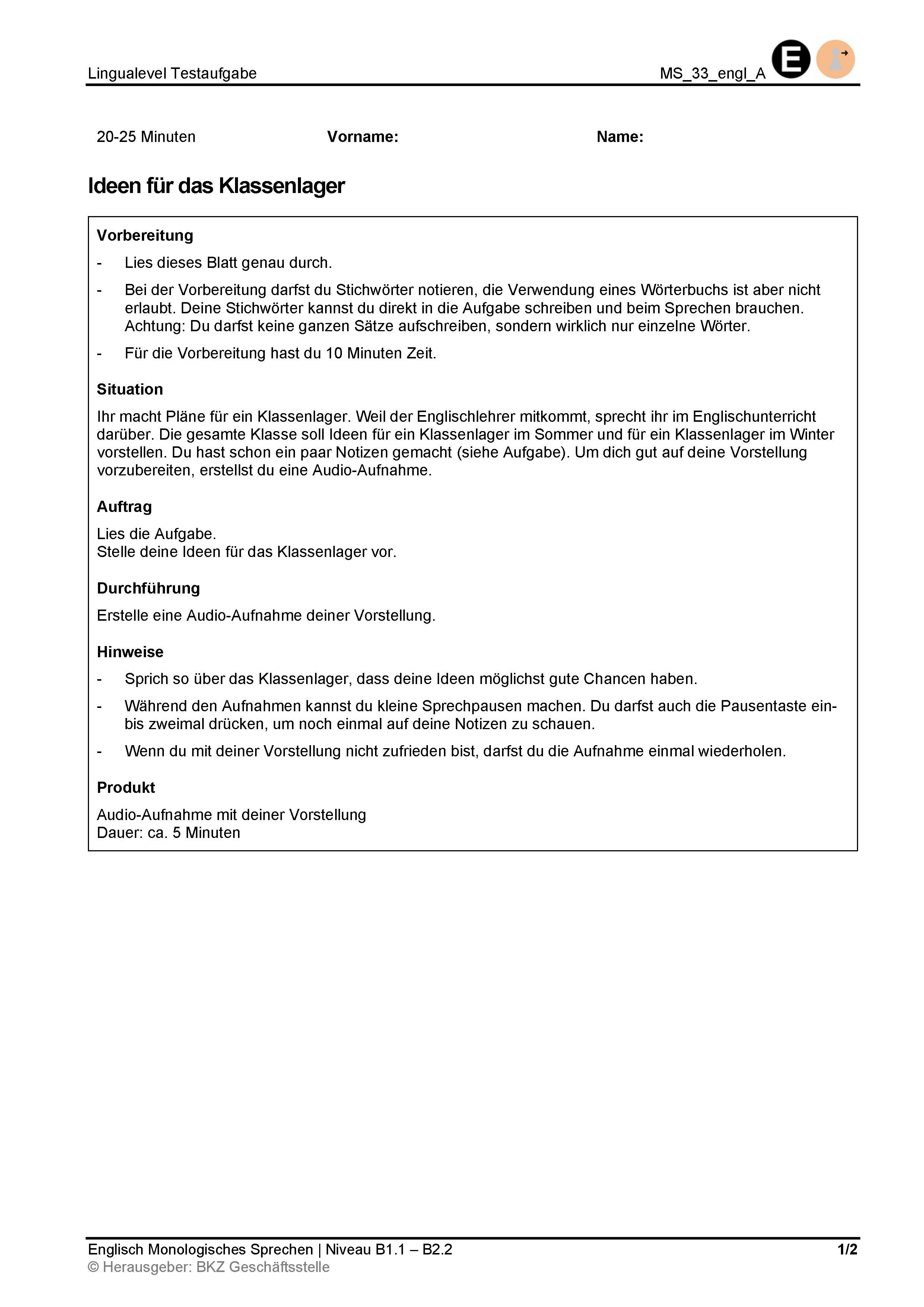 Preview image for LOM object Monologisches Sprechen: Ideen für das Klassenlager
