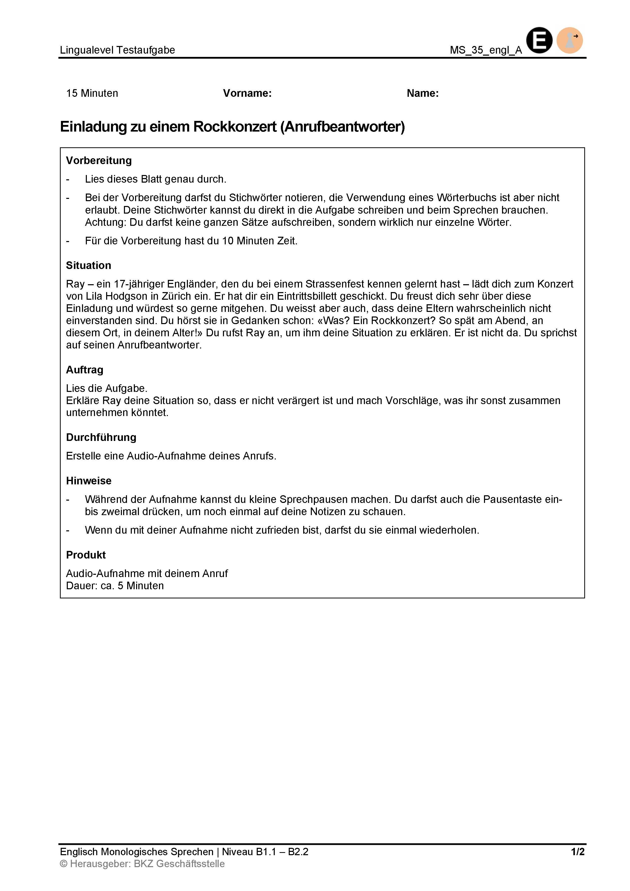 Preview image for LOM object Monologisches Sprechen: Einladung zu einem Rockkonzert (Anrufbeantworter)