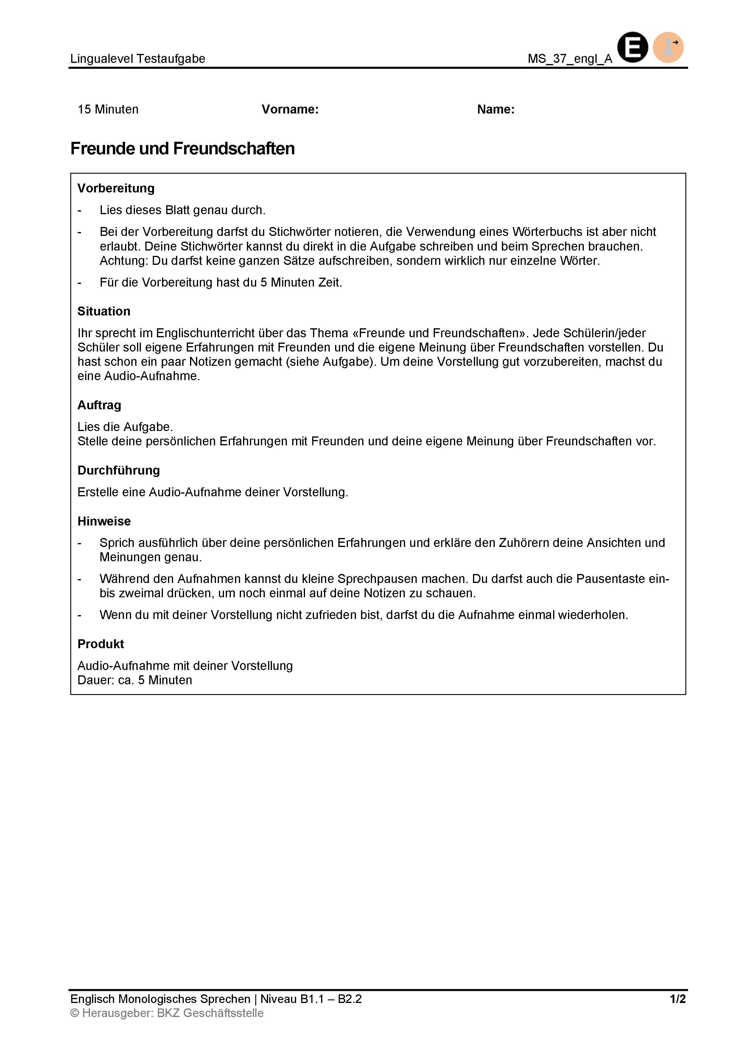 Preview image for LOM object Monologisches Sprechen: Freunde und Freundschaften