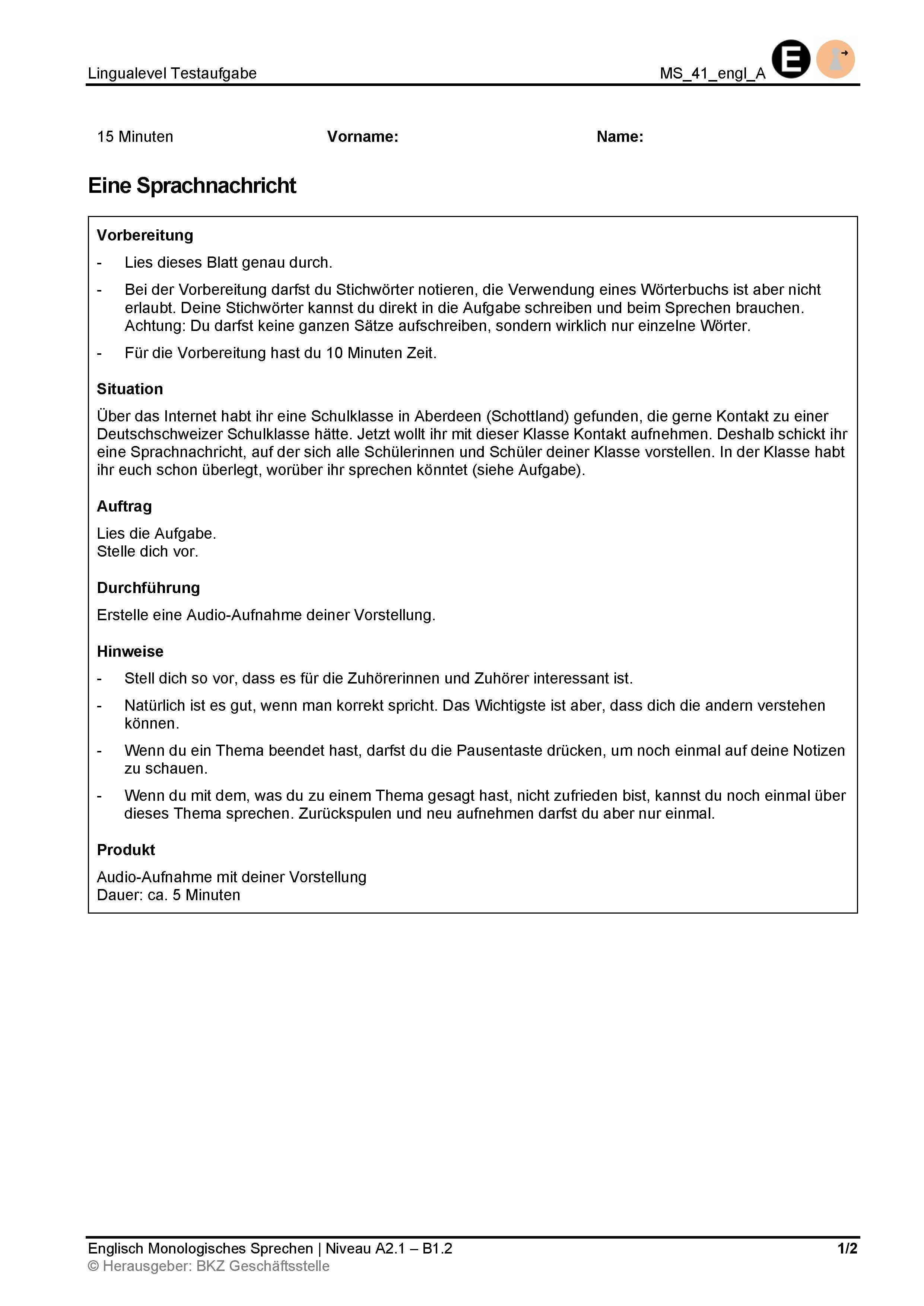 Preview image for LOM object Monologisches Sprechen: Eine Sprachnachricht