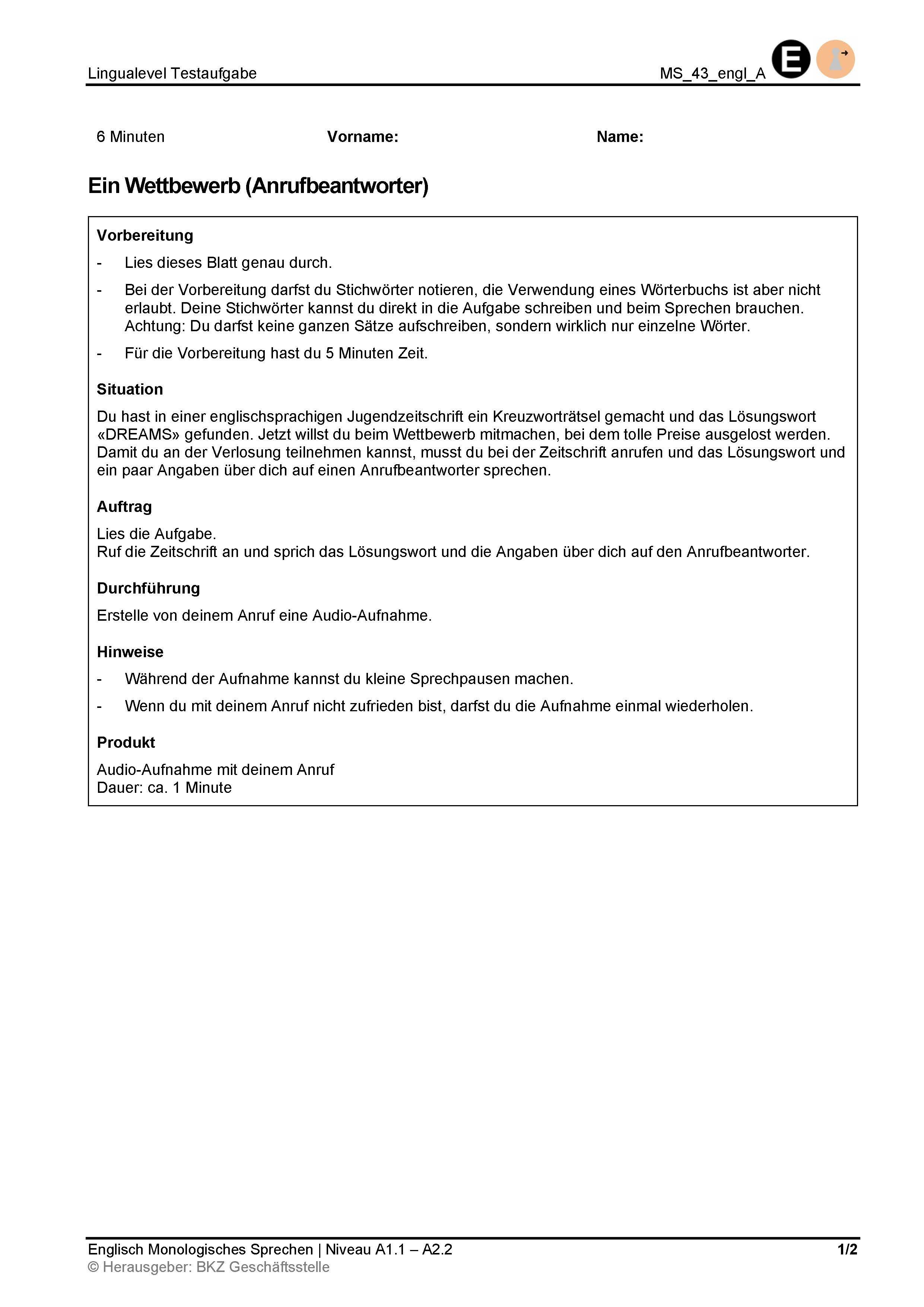 Preview image for LOM object Monologisches Sprechen: Ein Wettbewerb (Anrufbeantworter)