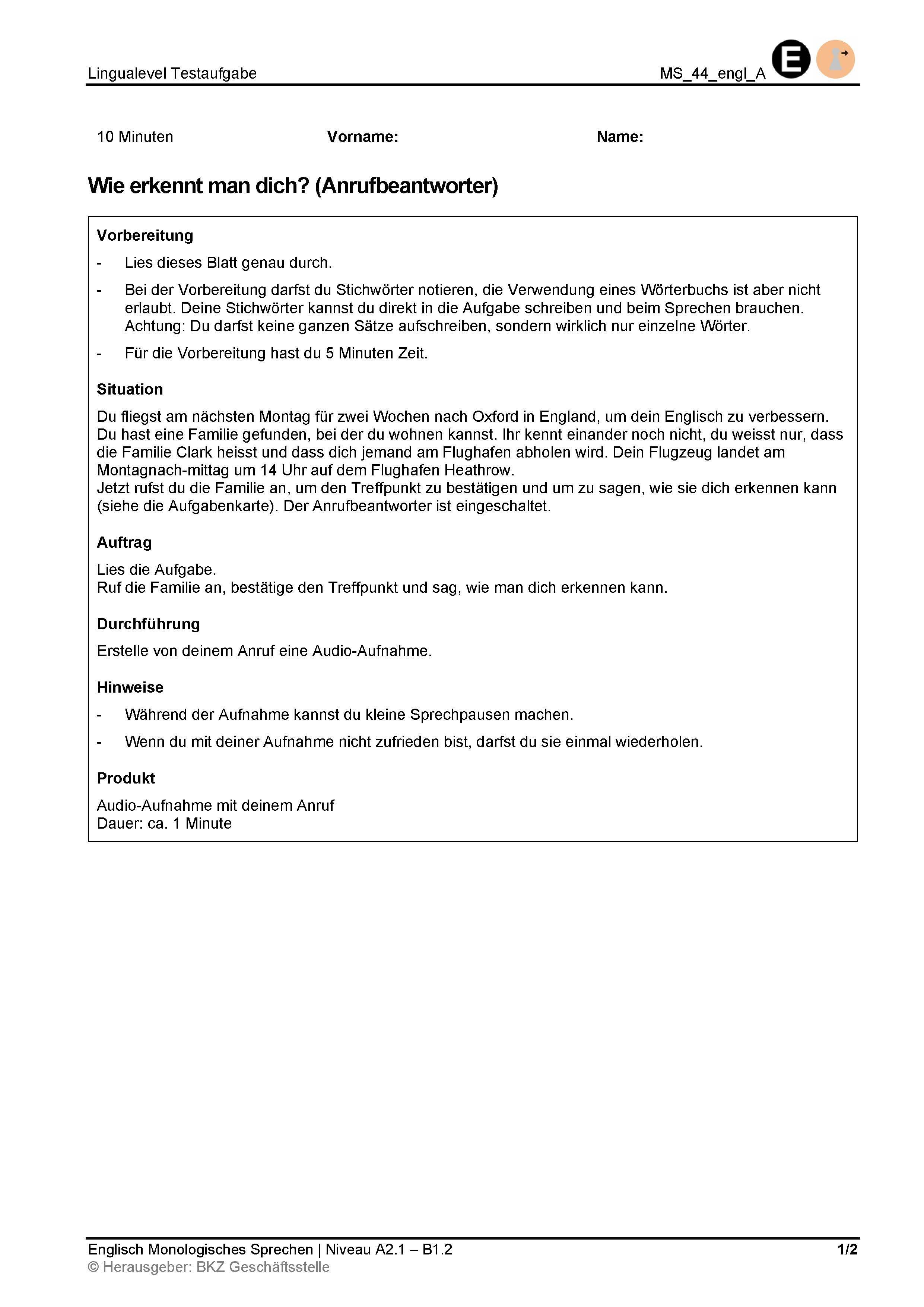 Preview image for LOM object Monologisches Sprechen: Wie erkennt man dich? (Anrufbeantworter)