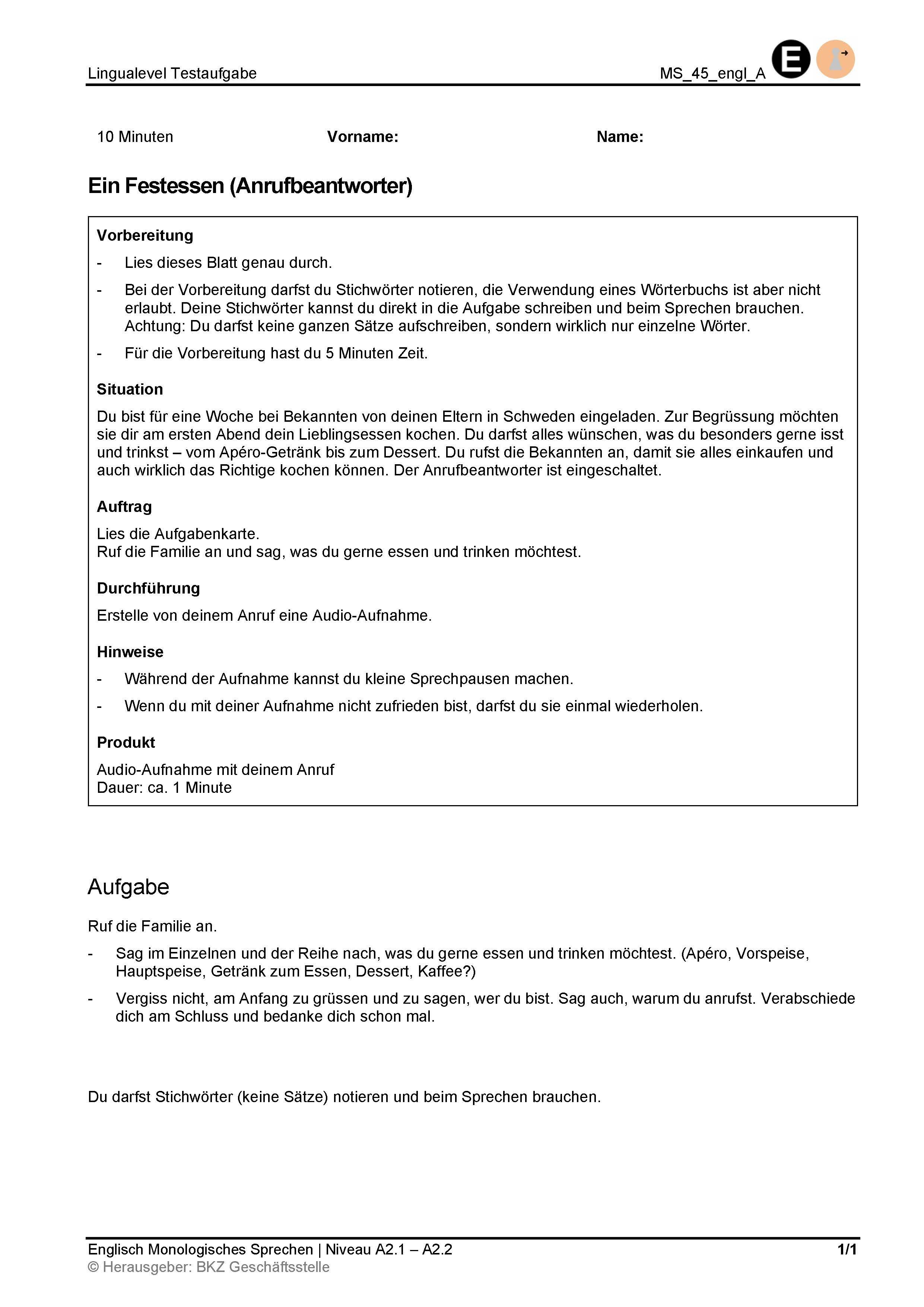 Preview image for LOM object Monologisches Sprechen: Ein Festessen (Anrufbeantworter)