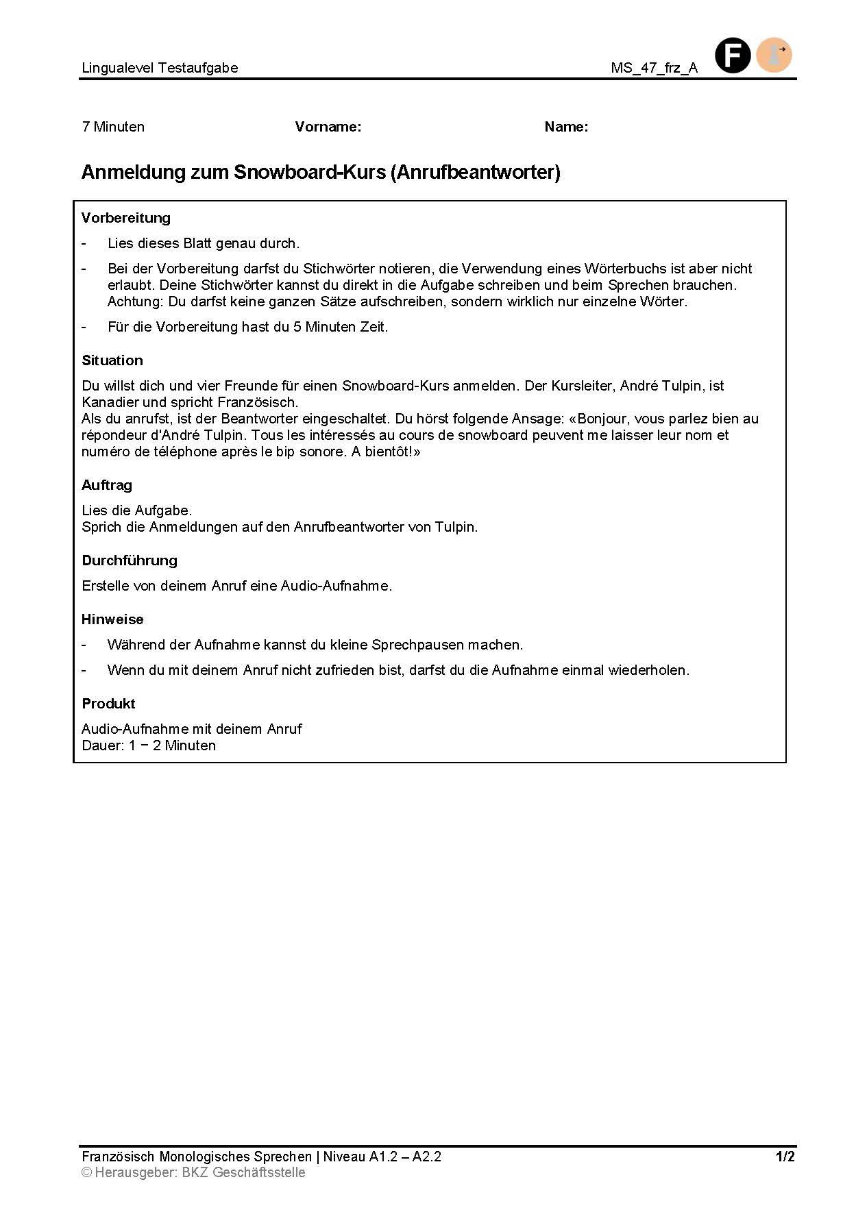 Preview image for LOM object Anmeldung zum Snowboard-Kurs (Anrufbeantworter)