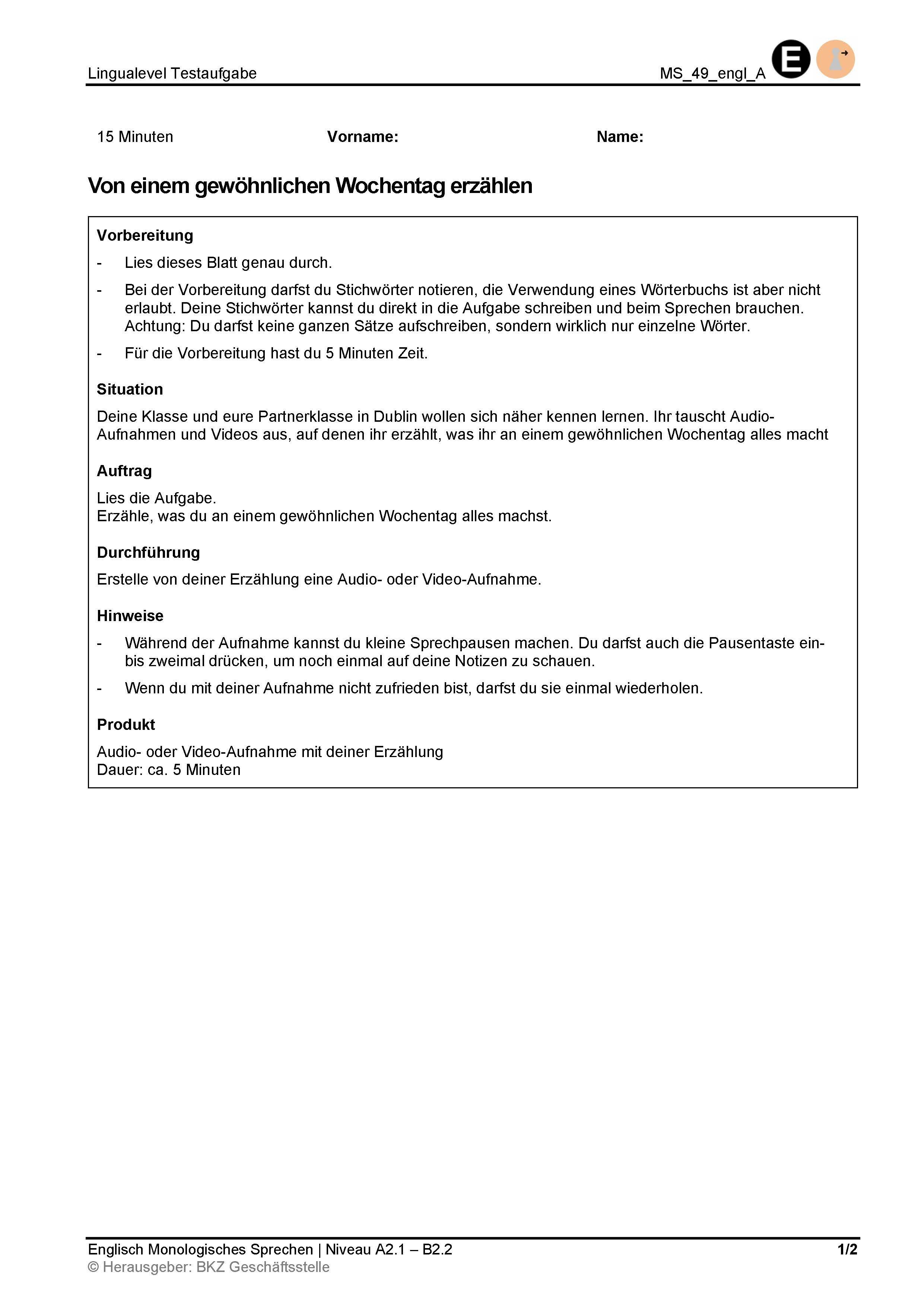 Preview image for LOM object Monologisches Sprechen: Von einem gewöhnlichen Wochentag erzählen