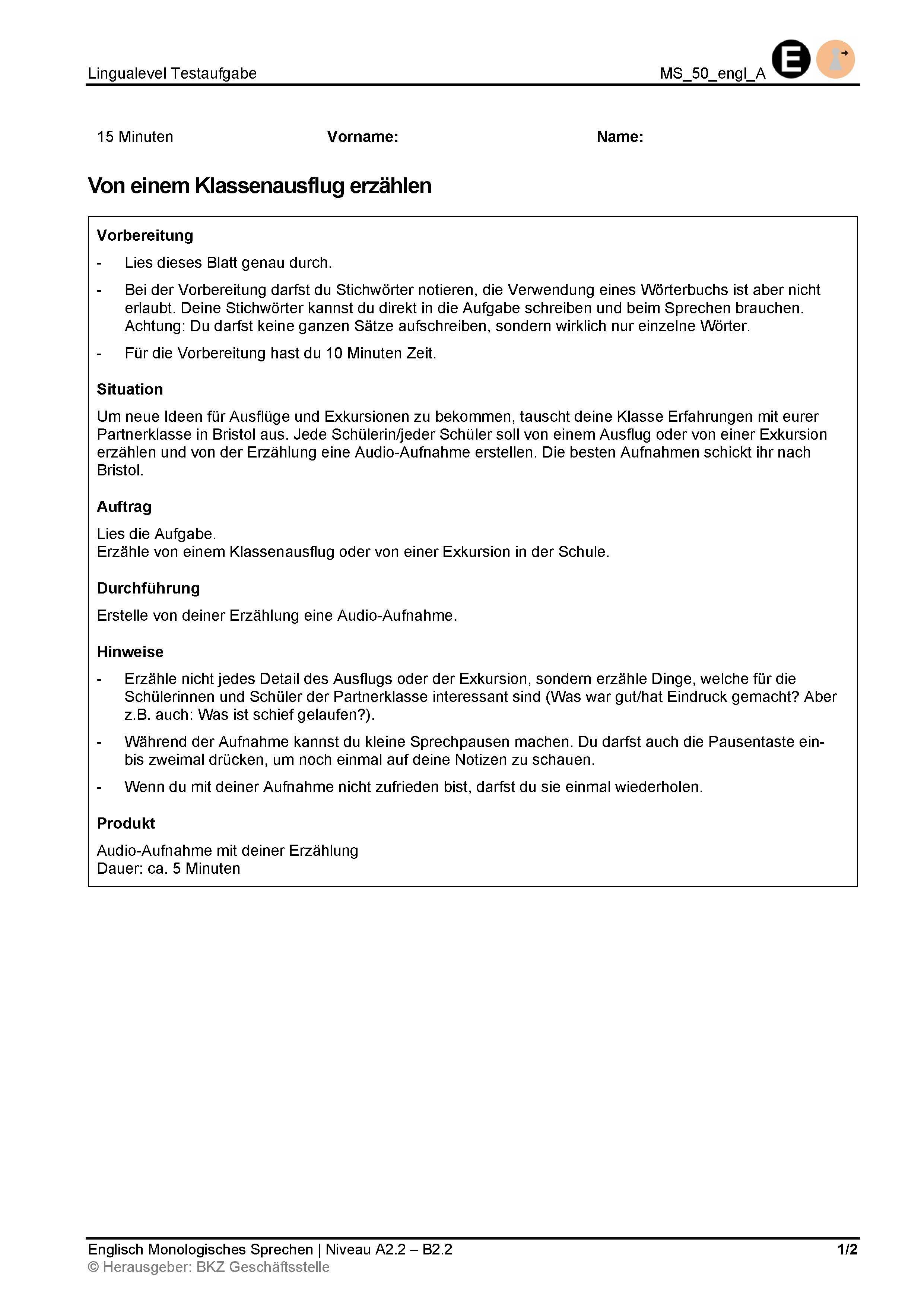 Preview image for LOM object Monologisches Sprechen: Von einem Klassenausflug erzählen