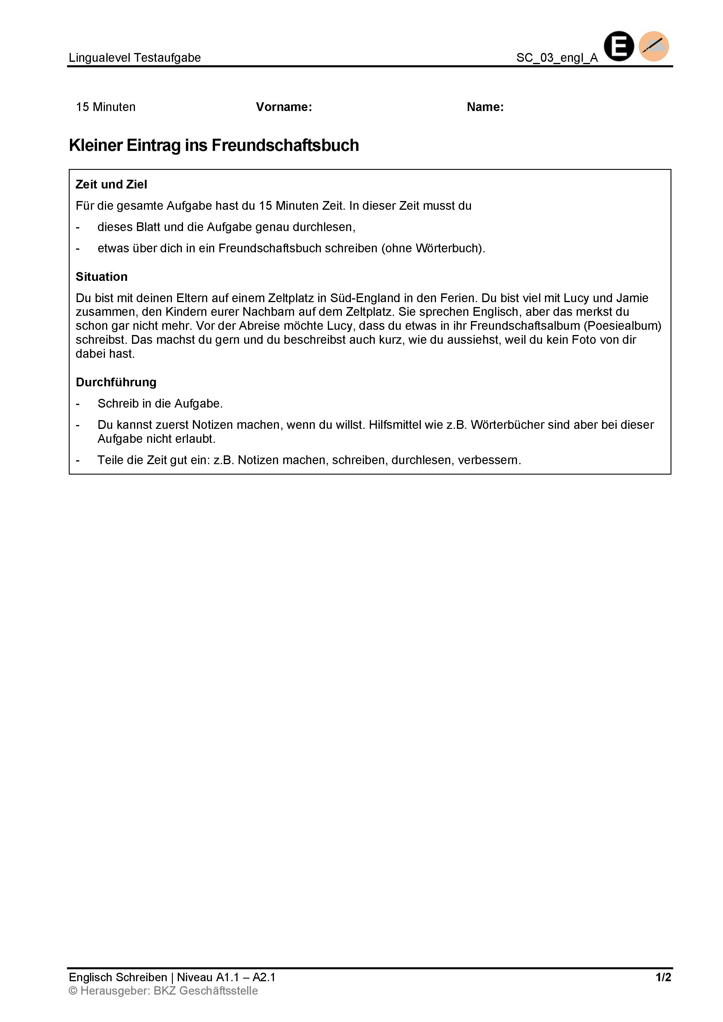 Preview image for LOM object Schreiben: Kleiner Eintrag ins Freundschaftsbuch