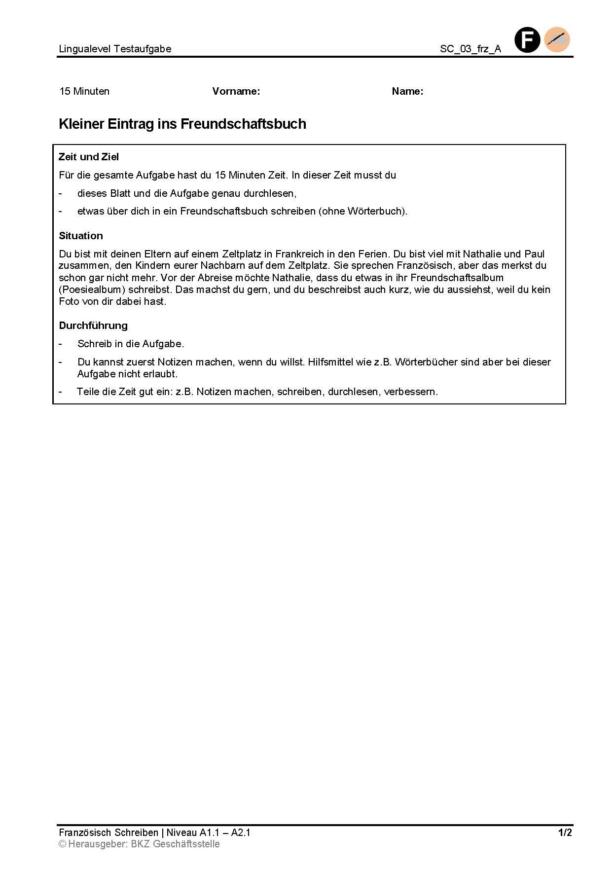 Preview image for LOM object Kleiner Eintrag ins Freundschaftsbuch