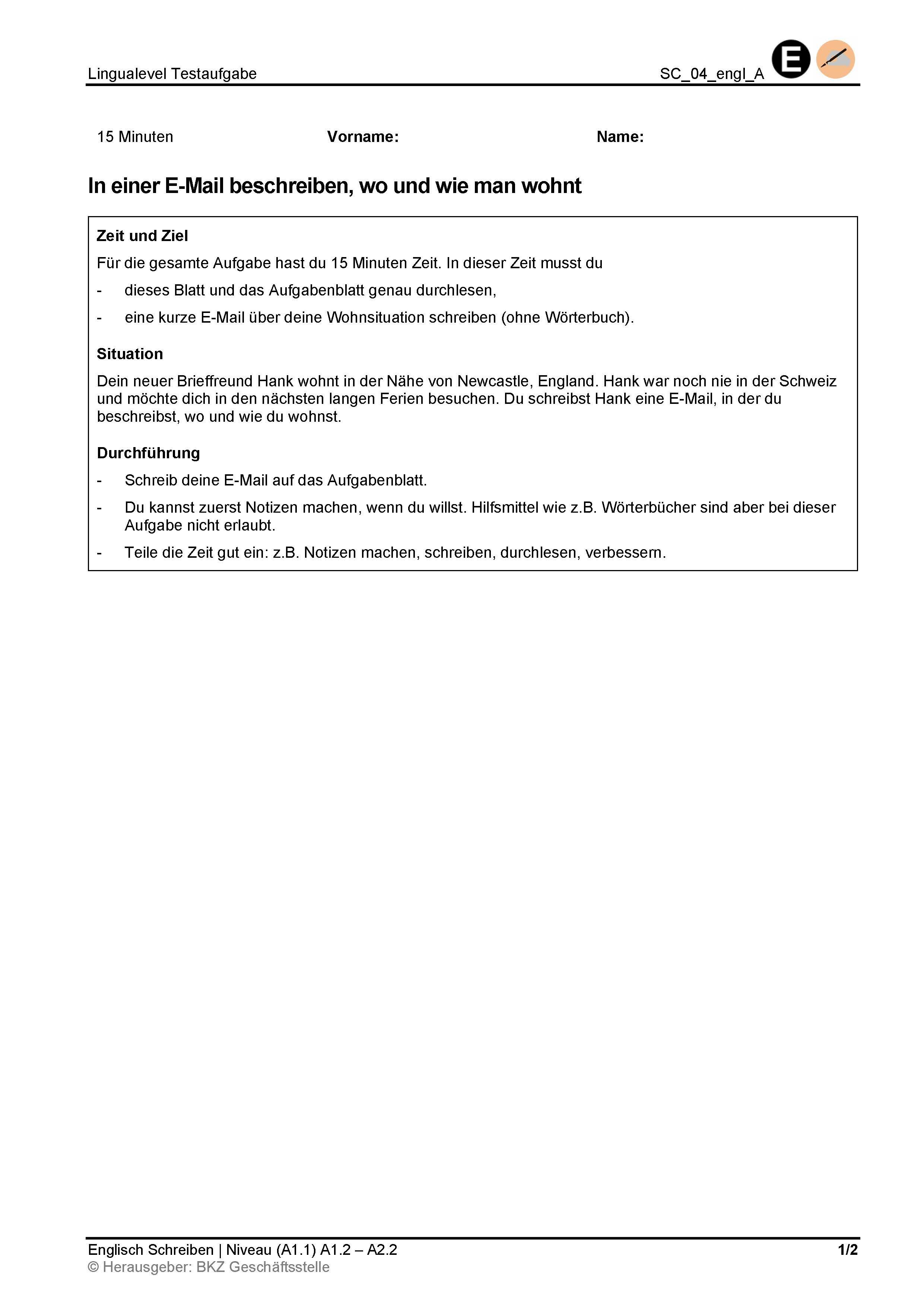 Preview image for LOM object Schreiben: In einer E-Mail beschreiben, wo und wie man wohnt