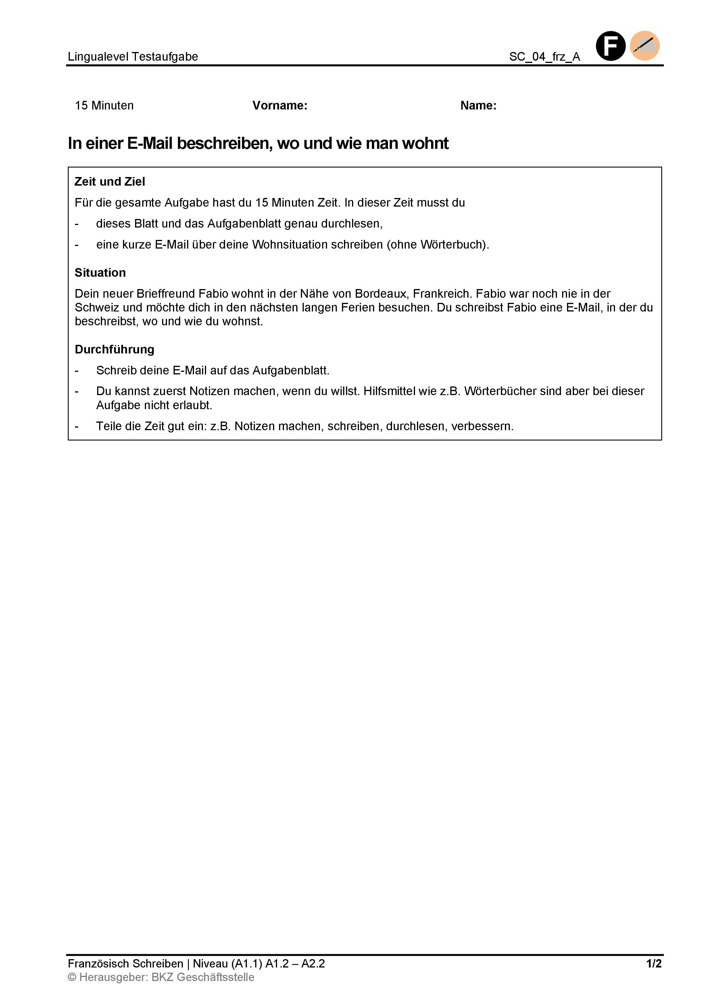 Preview image for LOM object In einer E-Mail beschreiben, wo und wie man wohnt