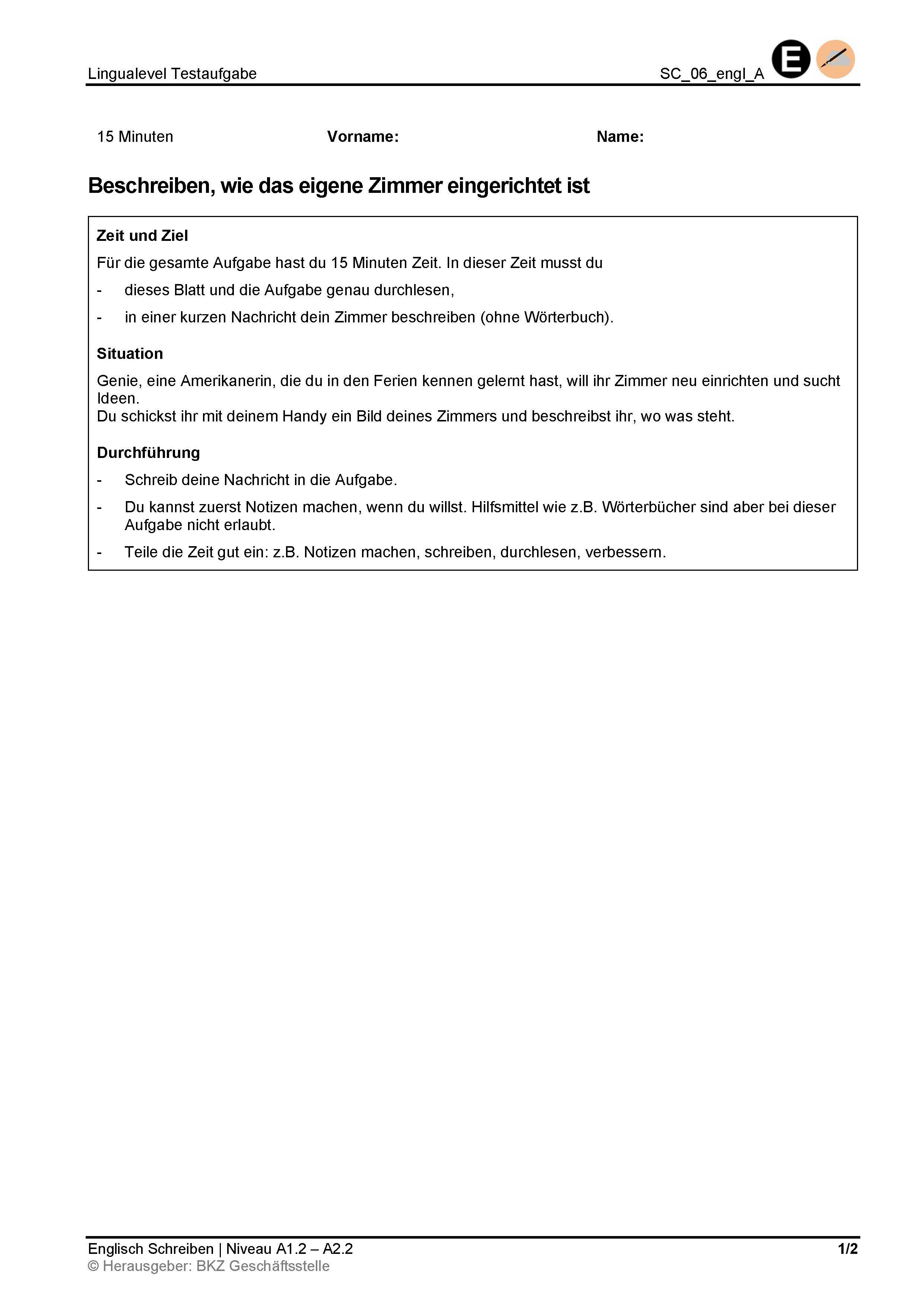 Preview image for LOM object Schreiben: Beschreiben, wie das eigene Zimmer eingerichtet ist