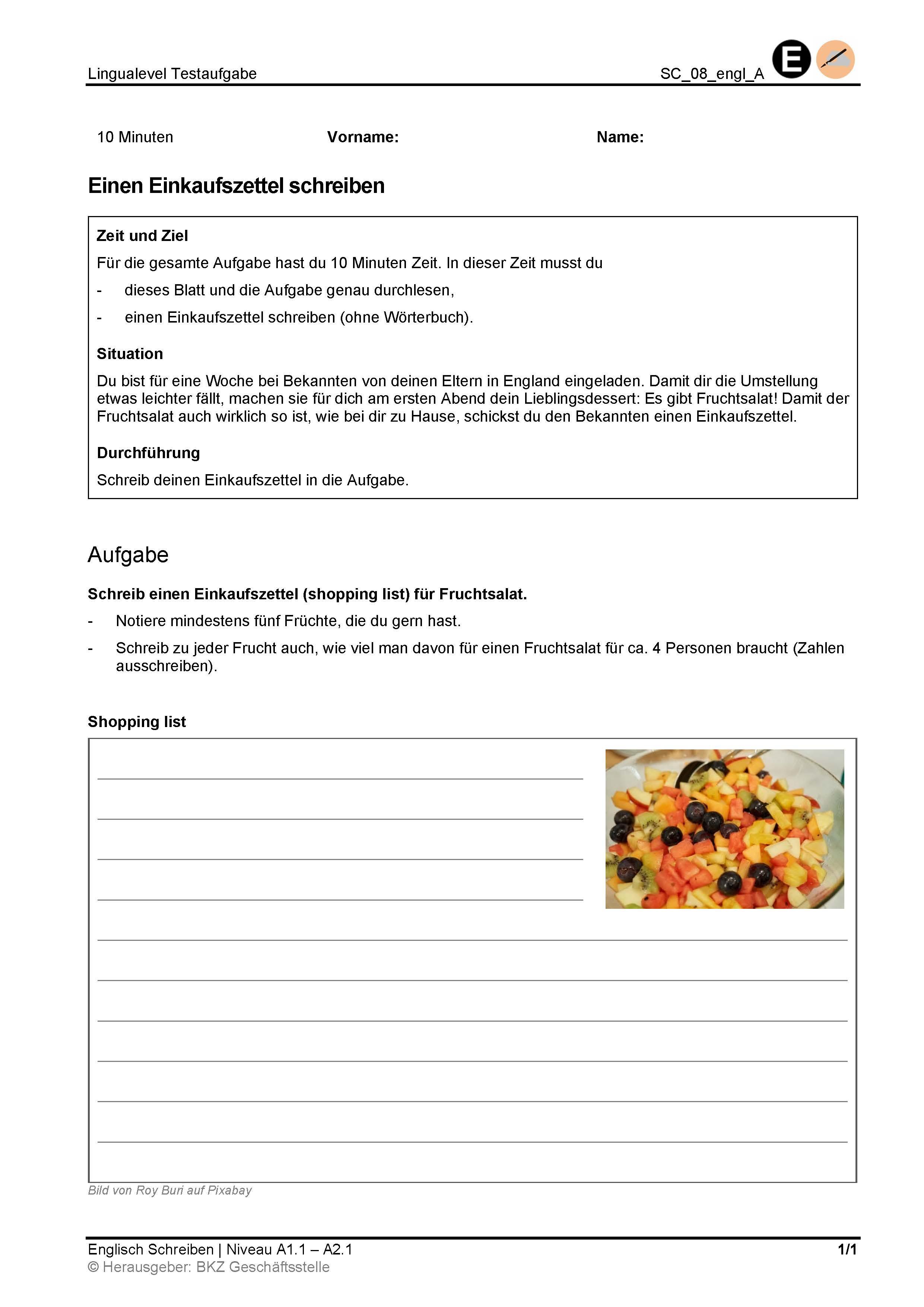 Preview image for LOM object Schreiben: Einen Einkaufszettel schreiben