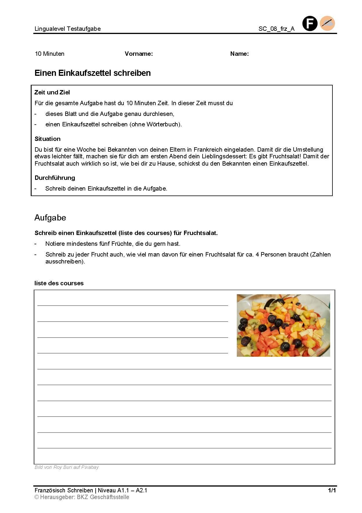 Preview image for LOM object Einen Einkaufszettel schreiben