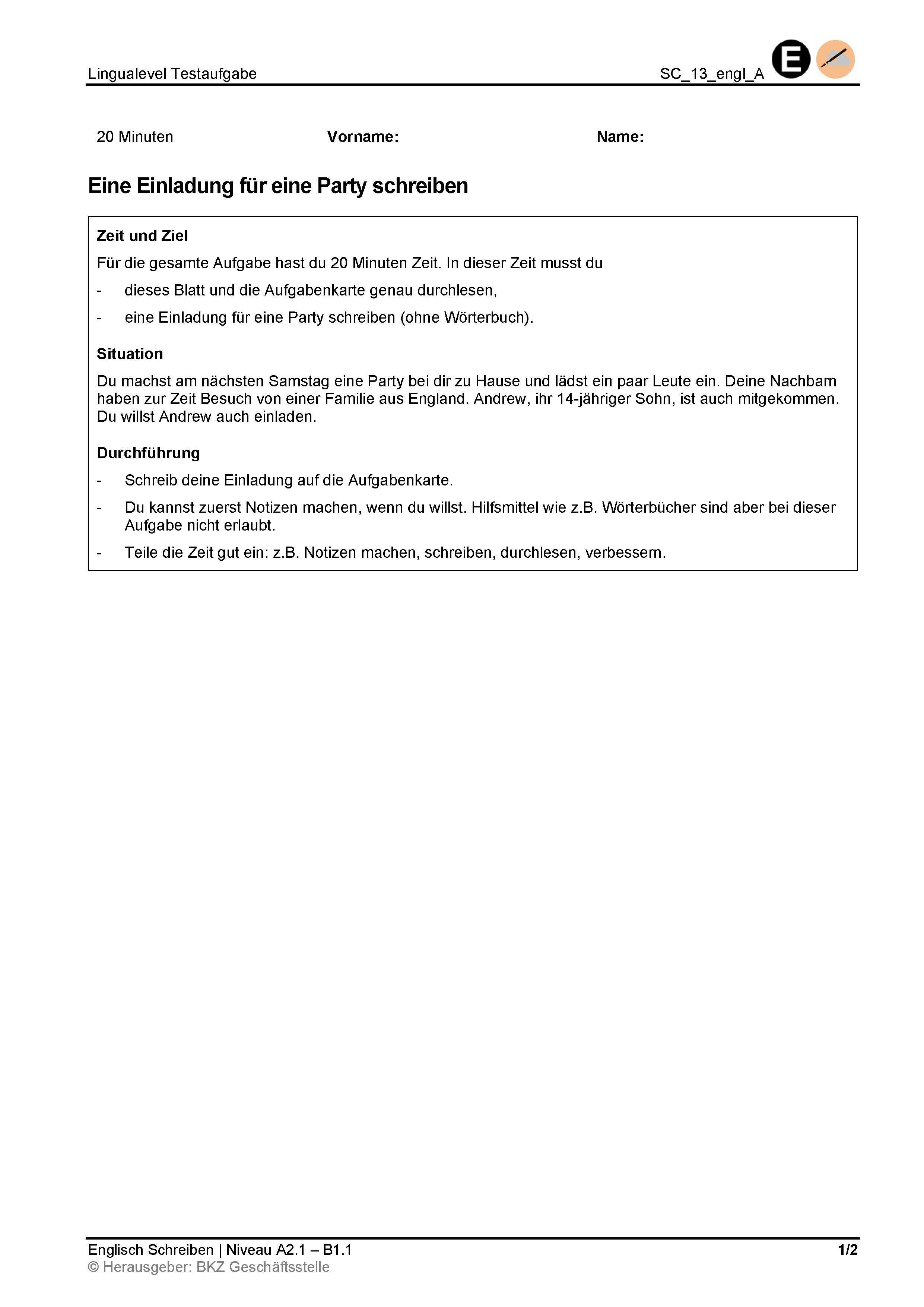 Preview image for LOM object Schreiben: Eine Einladung für eine Party schreiben